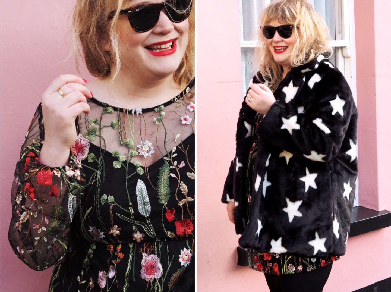 boohoo embroidered dress black