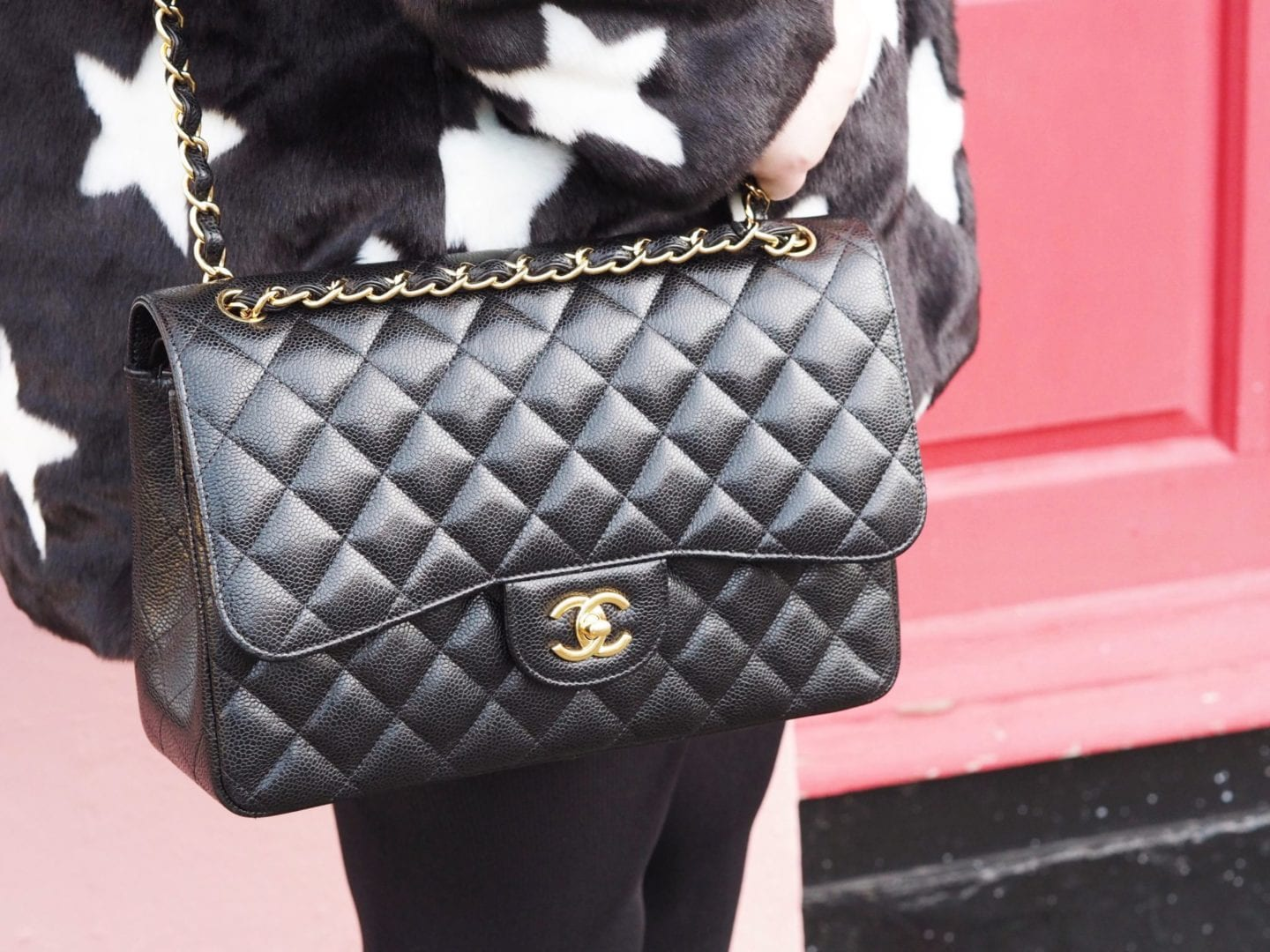 chanel-handbag-classic-flap-black-jumbo-size-caviar-leather-gold-hardwear