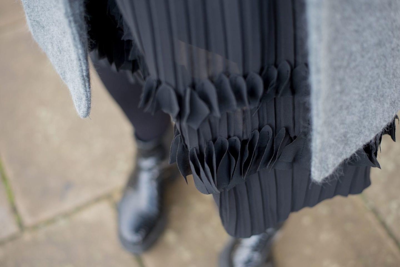 elvi skirt black ruffled chiffon