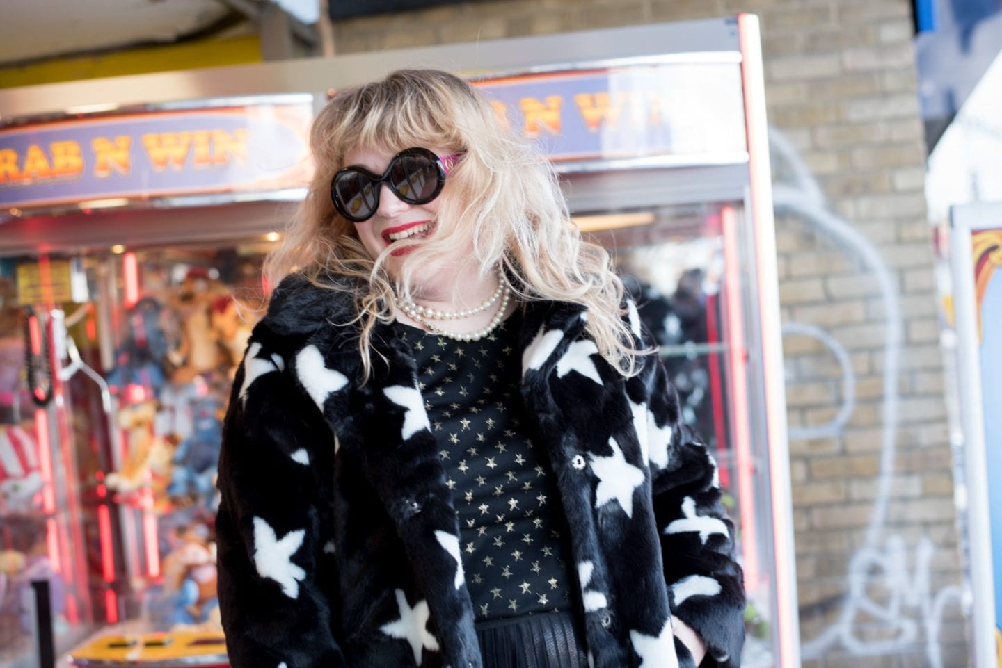 star print fur coat