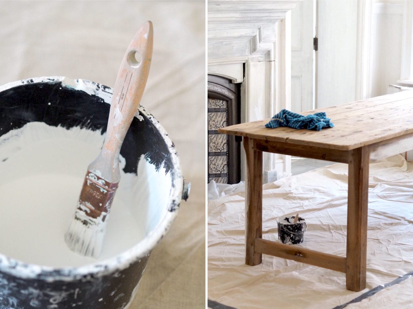 antique table project DIY French kitchen table farmhouse harris brushes painting