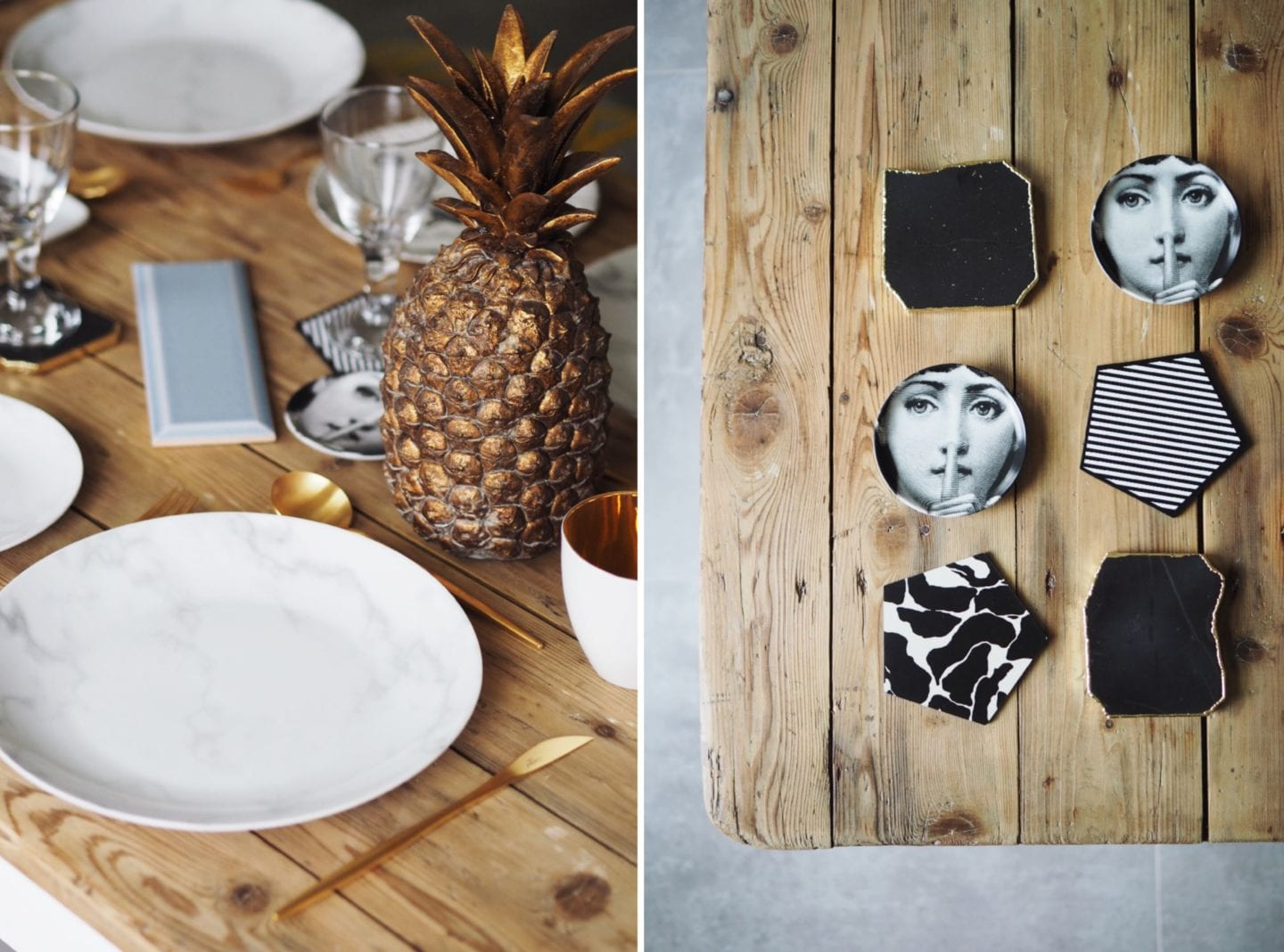 fornasetti coasters and anthropologie agate coasters