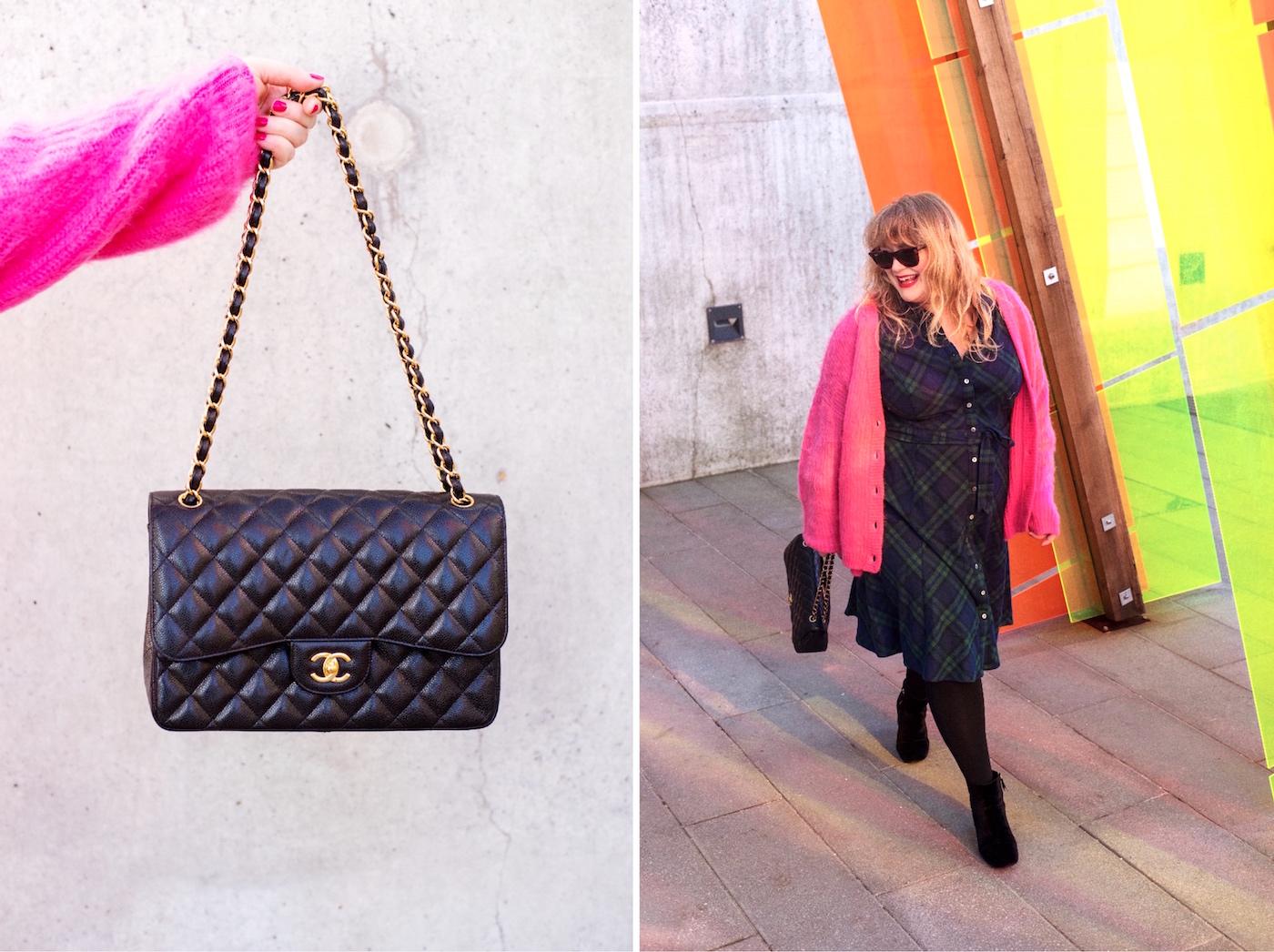 chanel black jumbo handbag caviar leather
