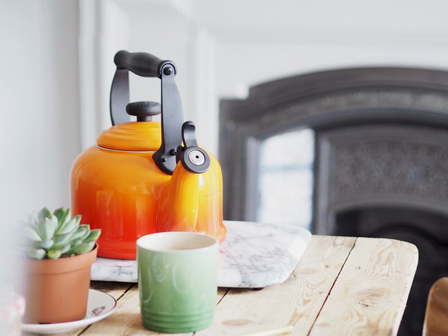 house of fraser le creuset orange volcanic blue mug and green mug