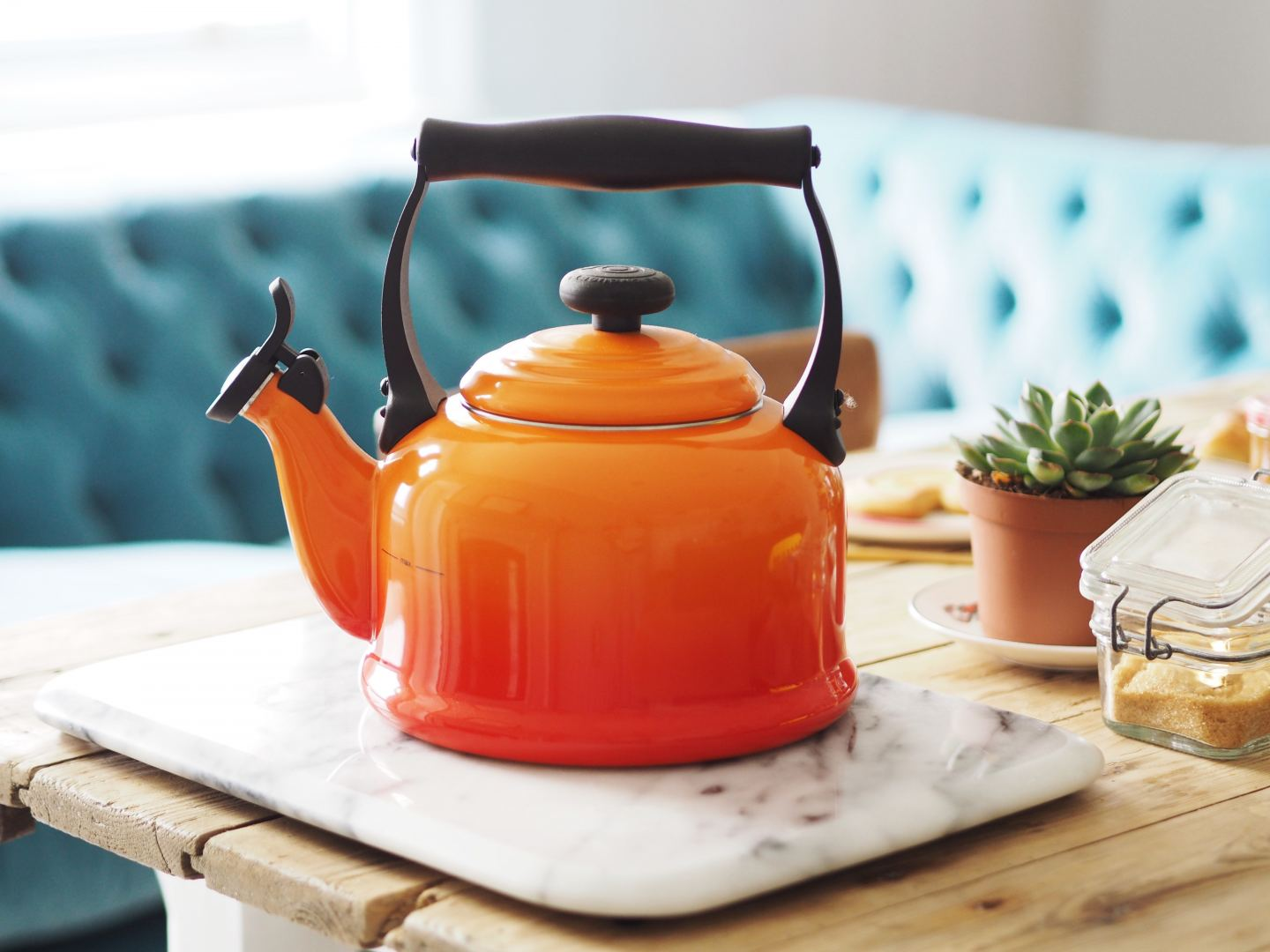 house of fraser le creuset orange volcanic blue mug and kettle