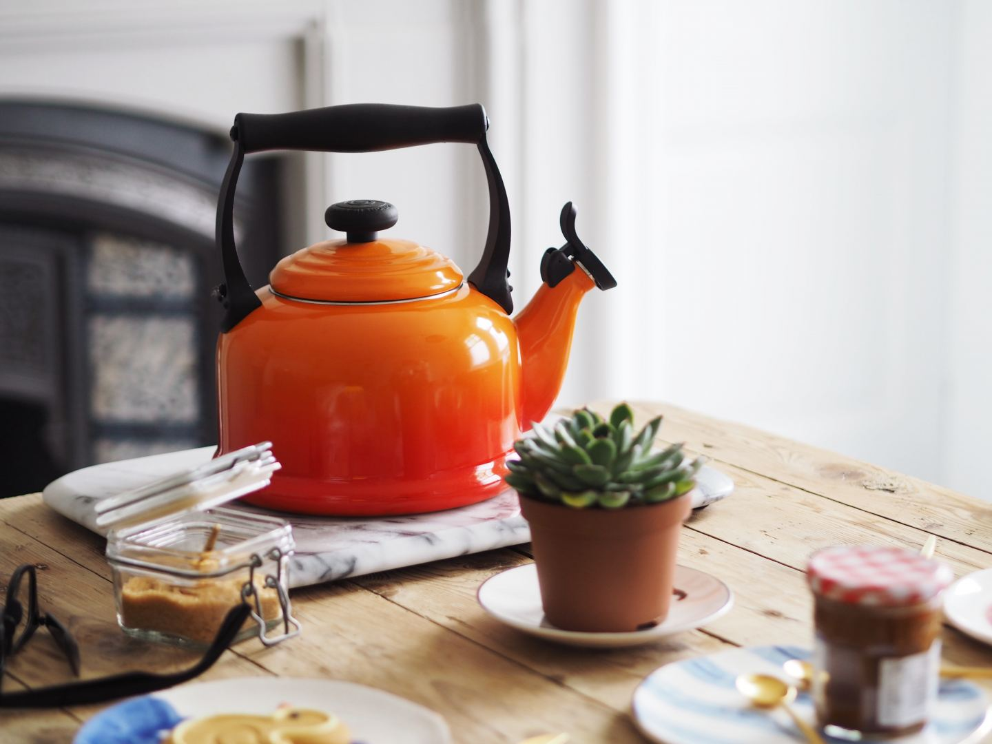 house of fraser le creuset orange volcanic kettle
