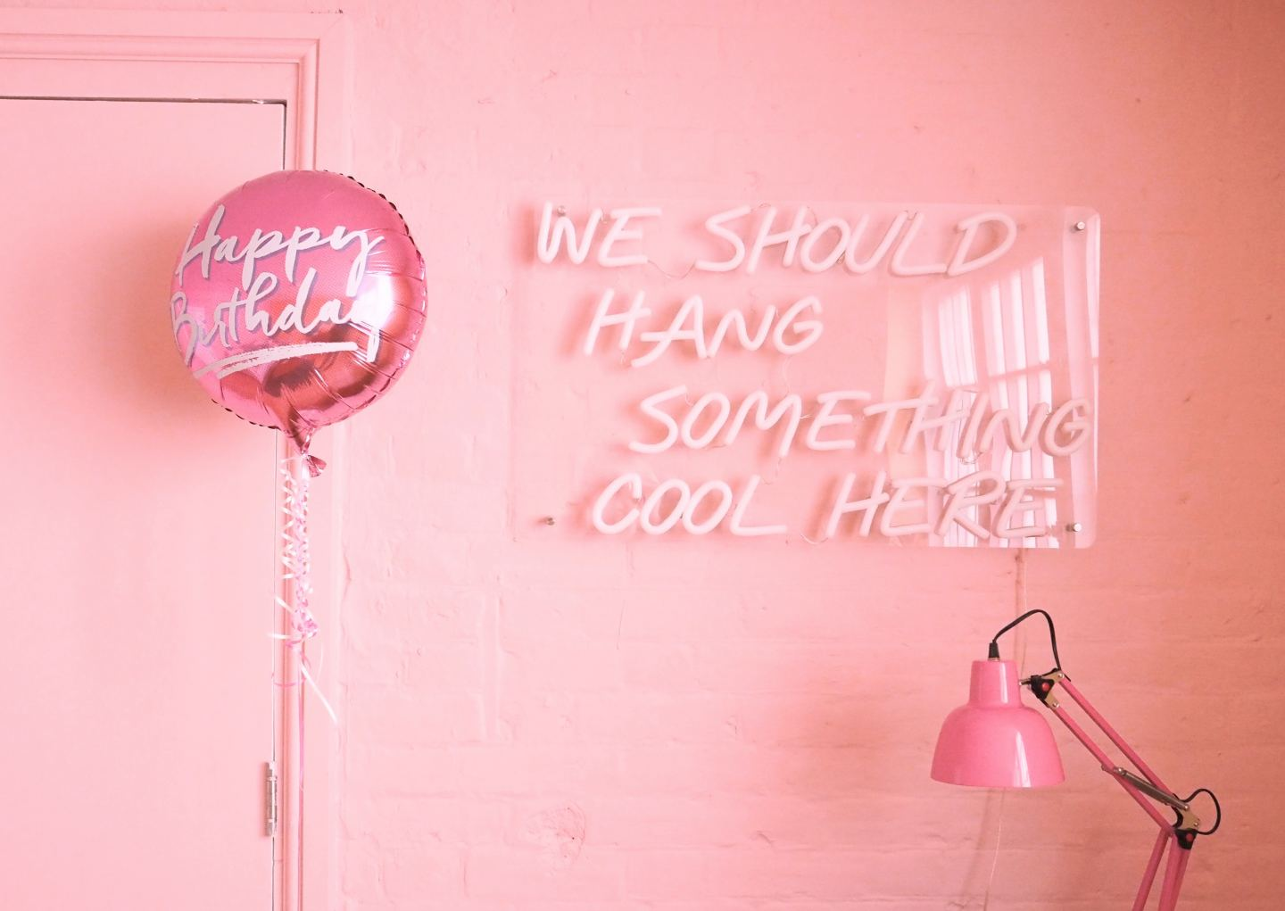 airbnb birthday balloon pink neon sign