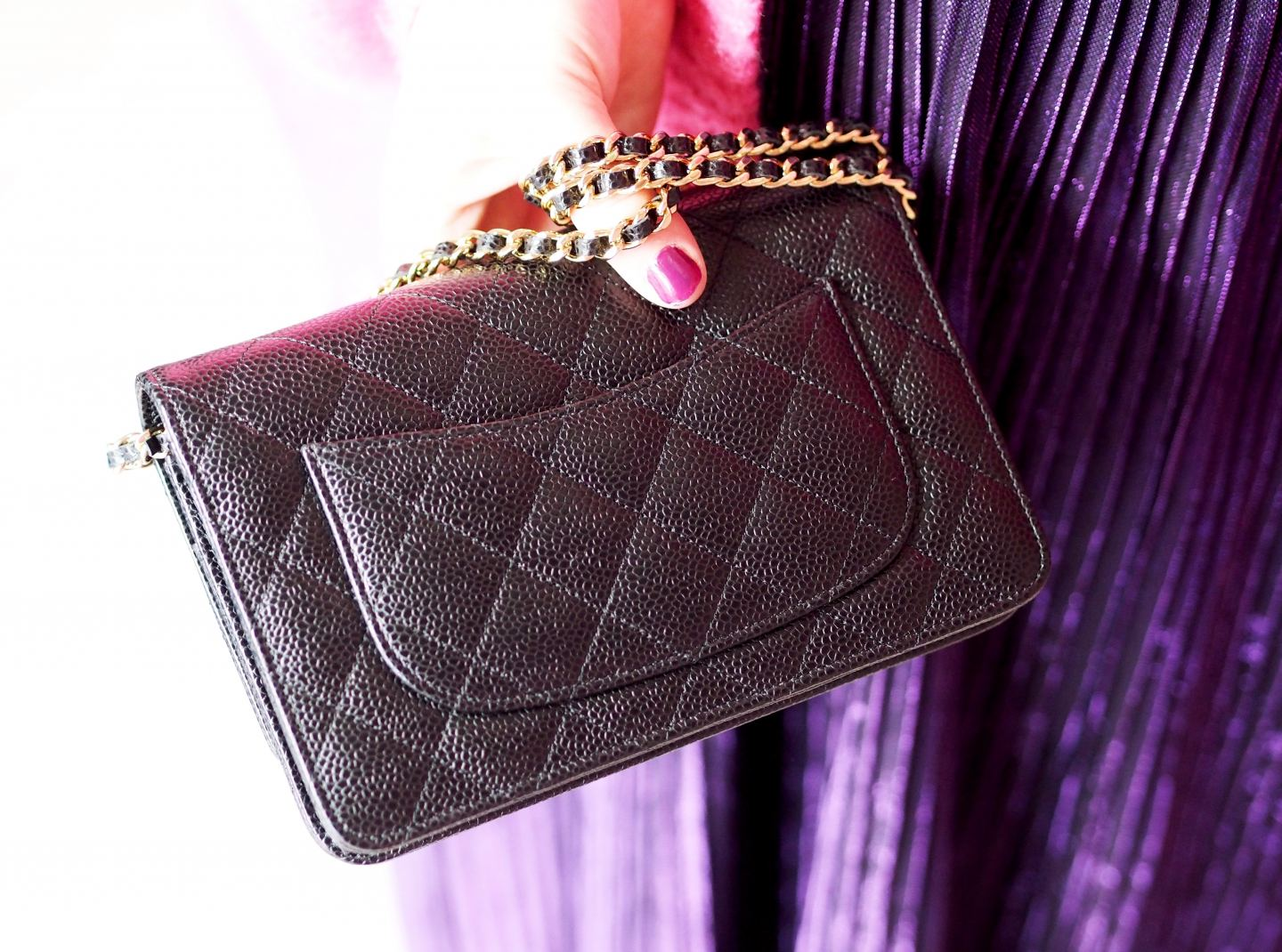 chanel wallet on chanel handbag black caviar leather fashion for lunch blog