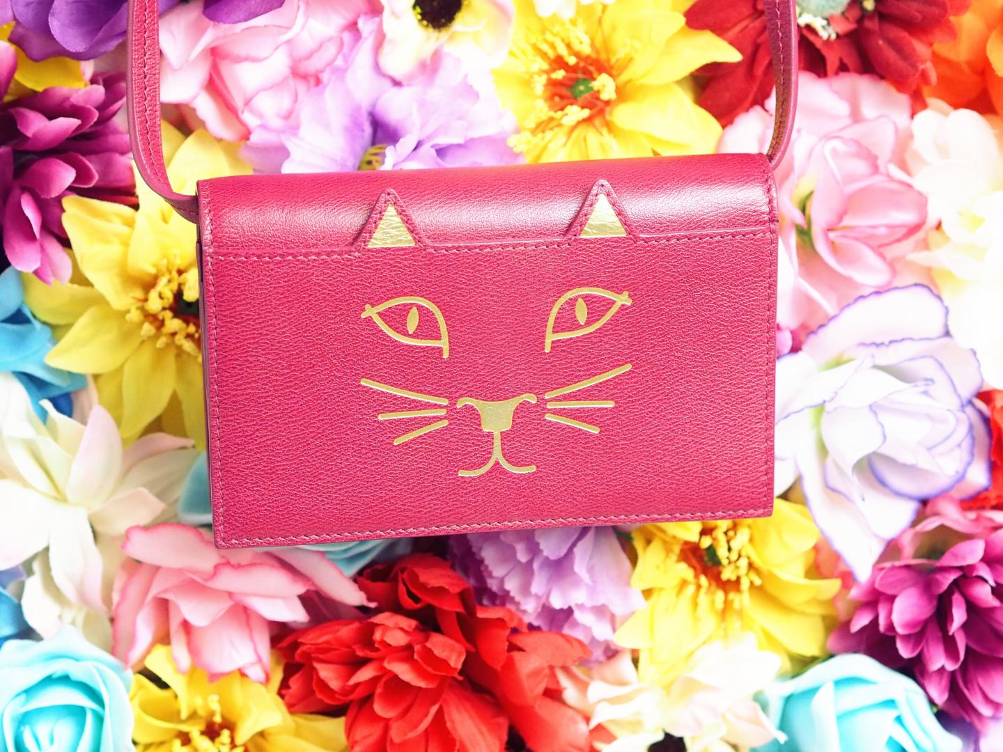 charlotte olympia kitty feline handbag wallet on chain pink red