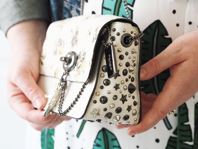 coach bowery handbag white studs crossbody handbag bag