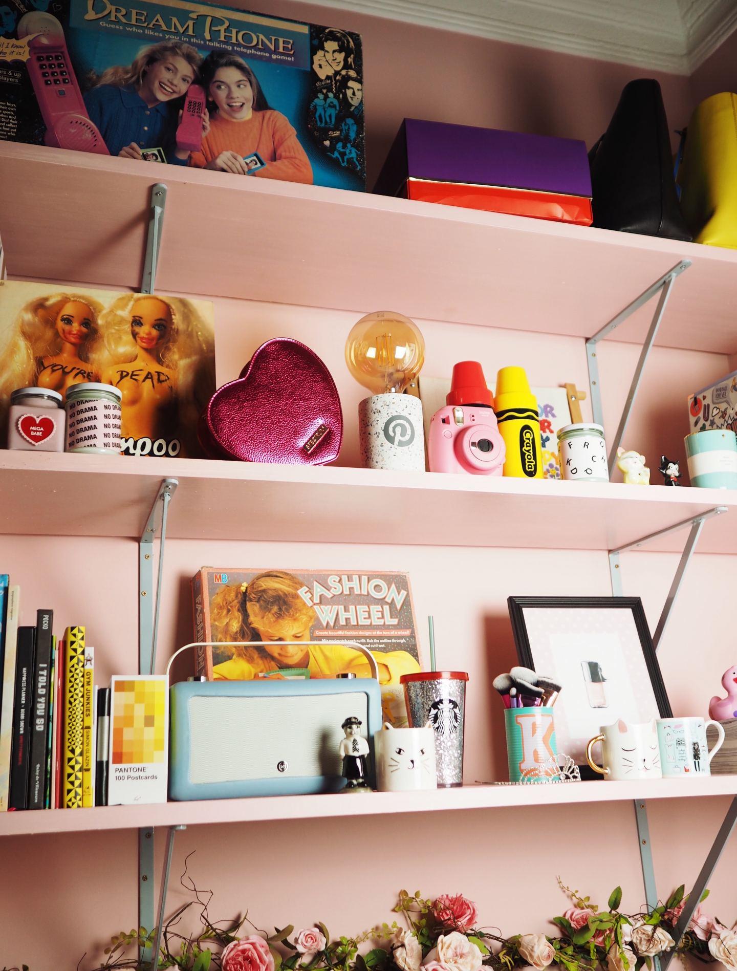 pink shelfie full of pink kitsch treats vintage retro