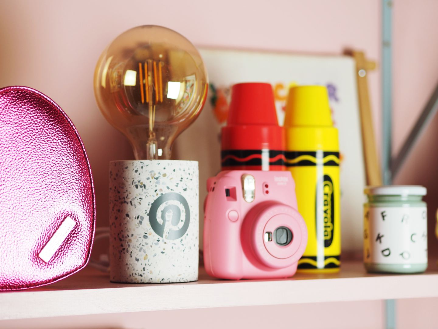 pinterest award with pink instax camera mini