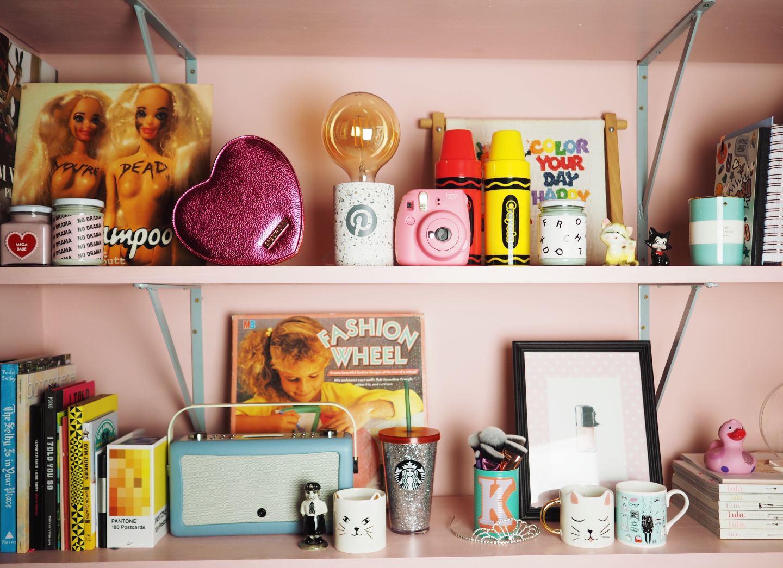 vintage retro shelfie full of shampoo record fashion wheel trickets