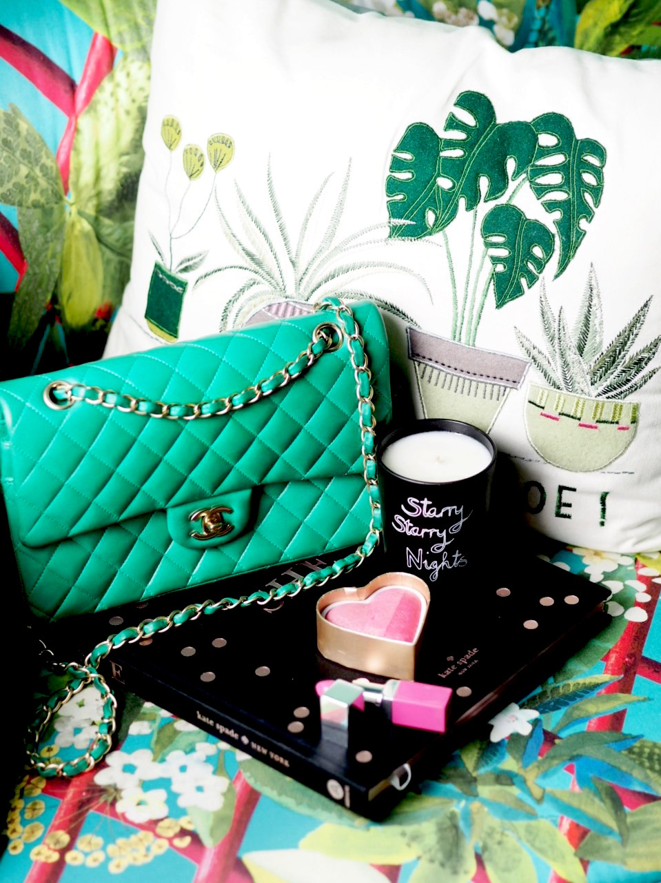 Chanel Handbag green bella frued candle starry starry night candle next cushion you had me at aloe homeware