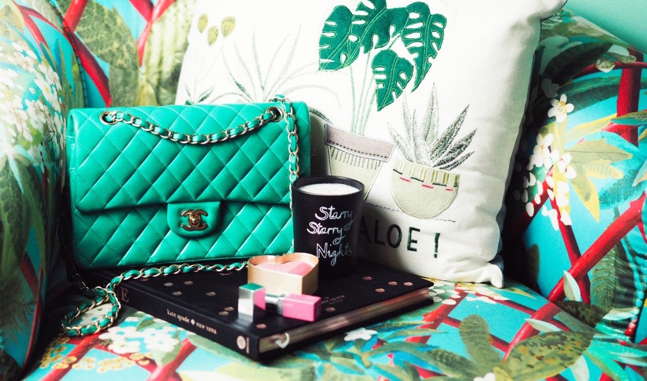 Chanel Handbag green bella frued candle starry starry night candle next cushion you had me at aloe homeware flatlay still life blogger