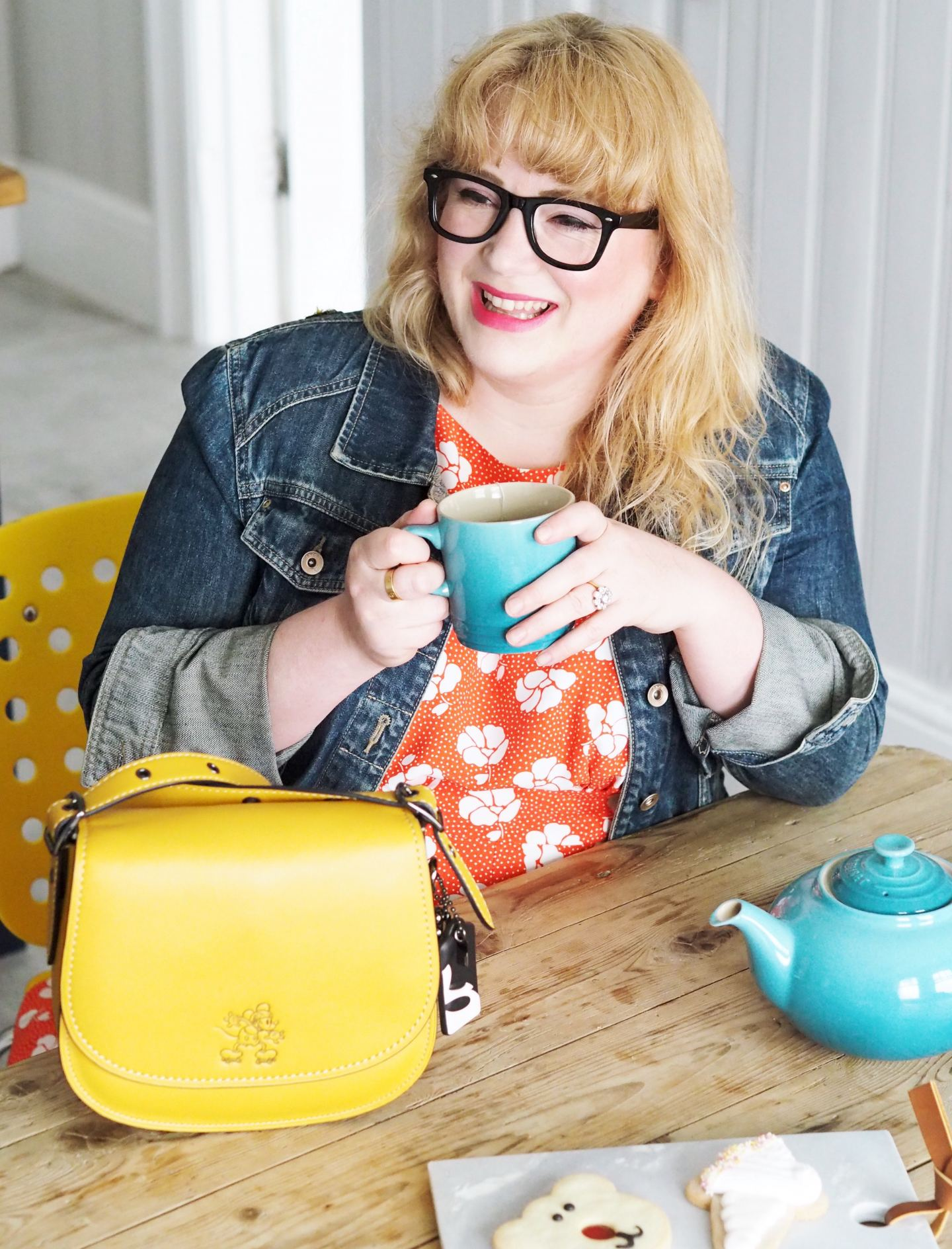 yellow Coach Saddle Bag disney collection fashion for lunch blog review