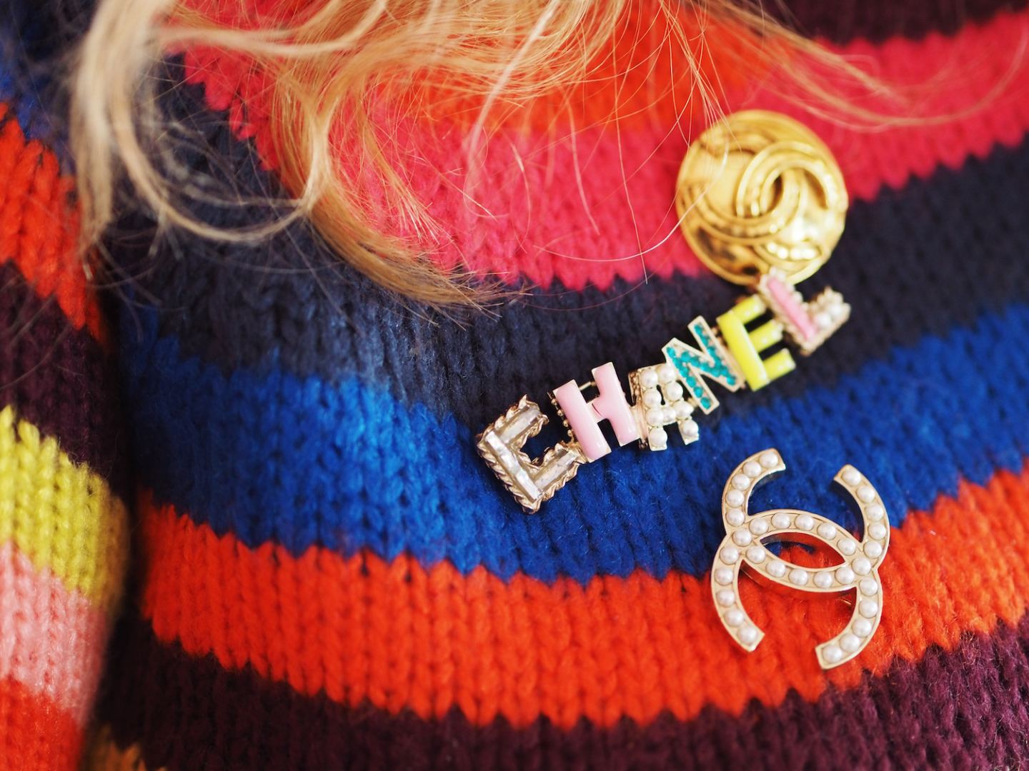 boohoo striped jumper and chanel brooches