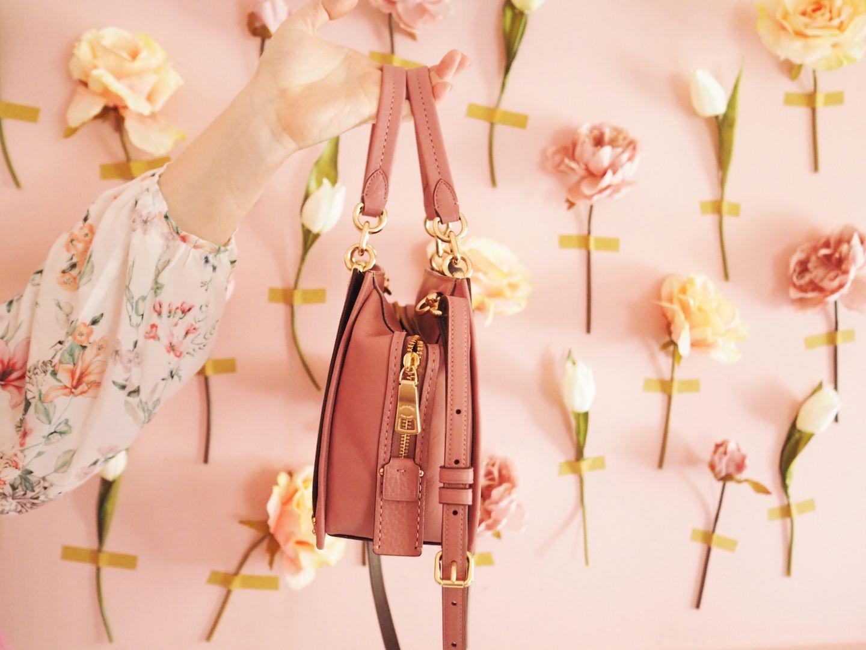 coach dreamer handbag petit 21 pink blush pretty side on gold zips