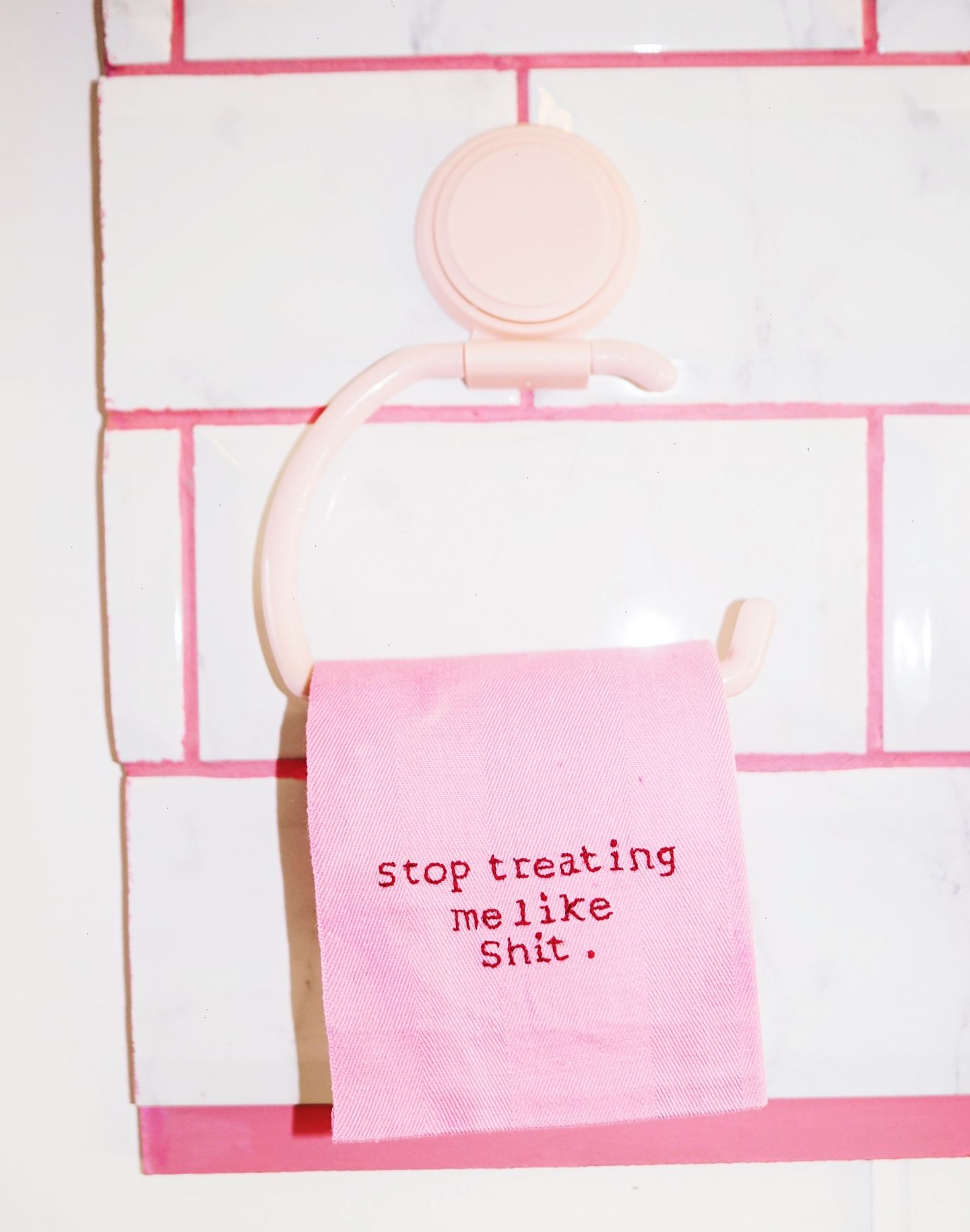 stop treating me like shit toilet paper exhibtions parlour noir pink