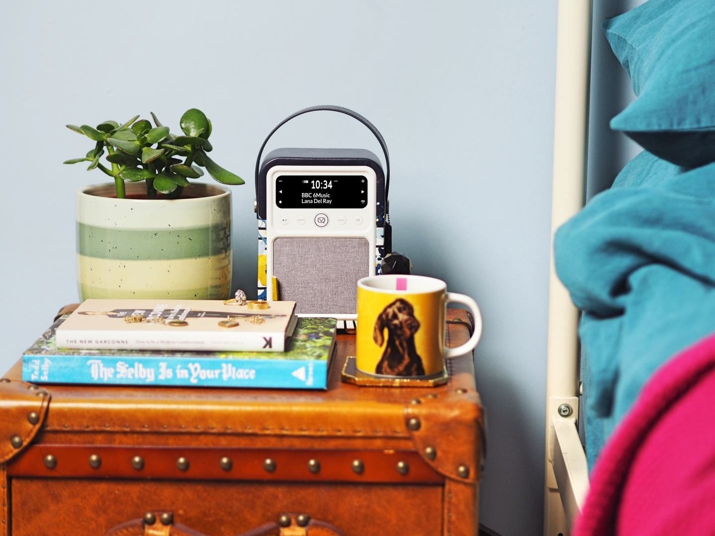 VQ X Joules clothing design radio bedside table_