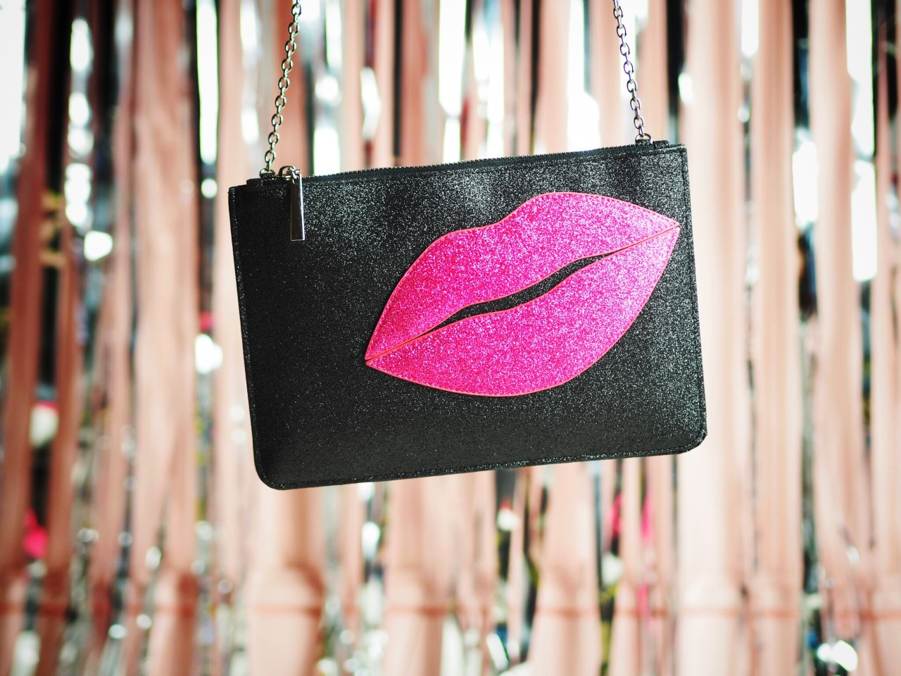 glitter lips kiss handbag simply be