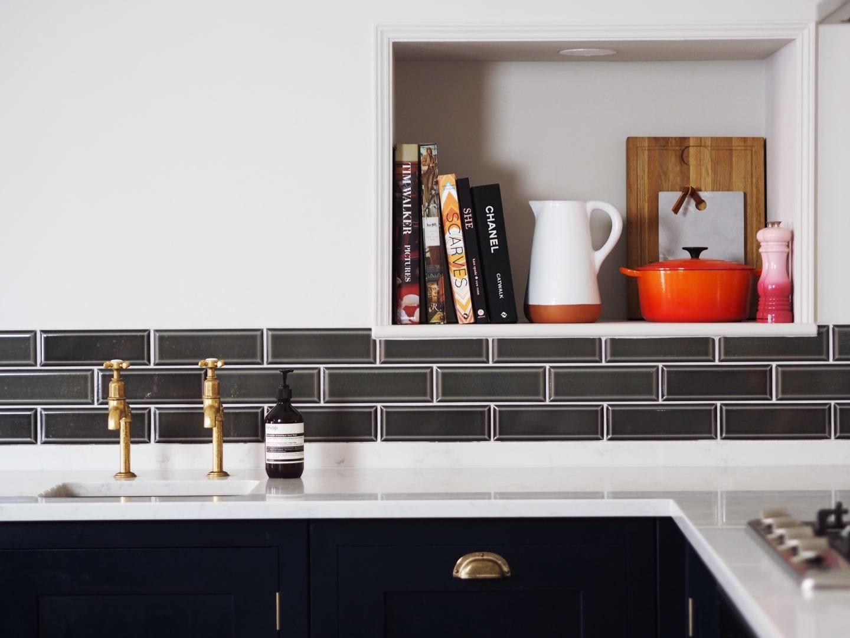 harvey jones kitchen navy blue wood worktops gold handles
