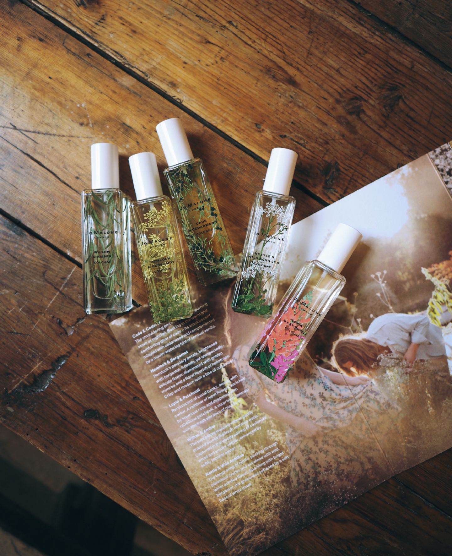 Jo Malone London 'Wild flowers & Weeds' Collection flatlay new perfume 2019