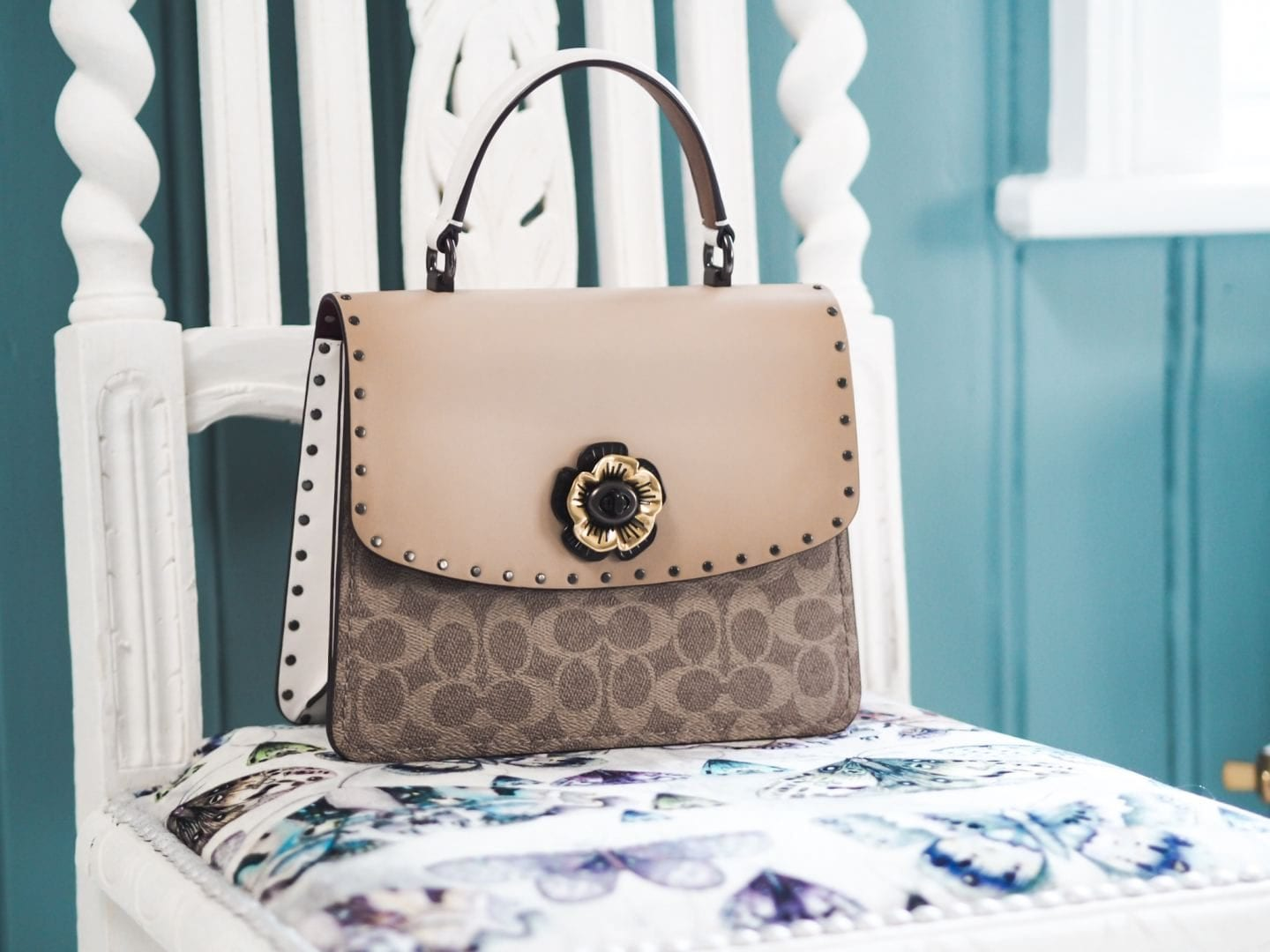 Coach Top Handle Parker Handbag coach monogrammed monogram coated canvas kelly style bag taupe turnlock rose clasp