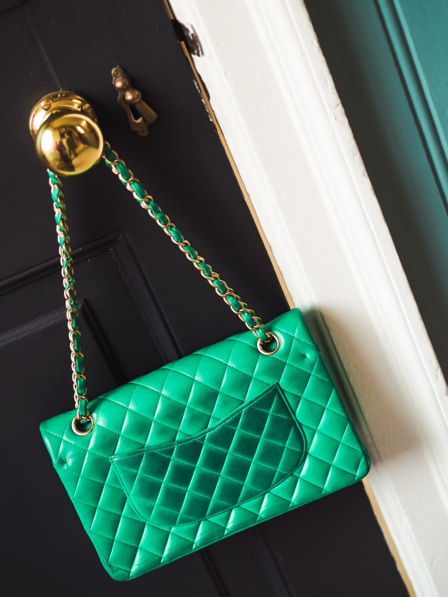 chanel classic flap handbag green colour color transfer results