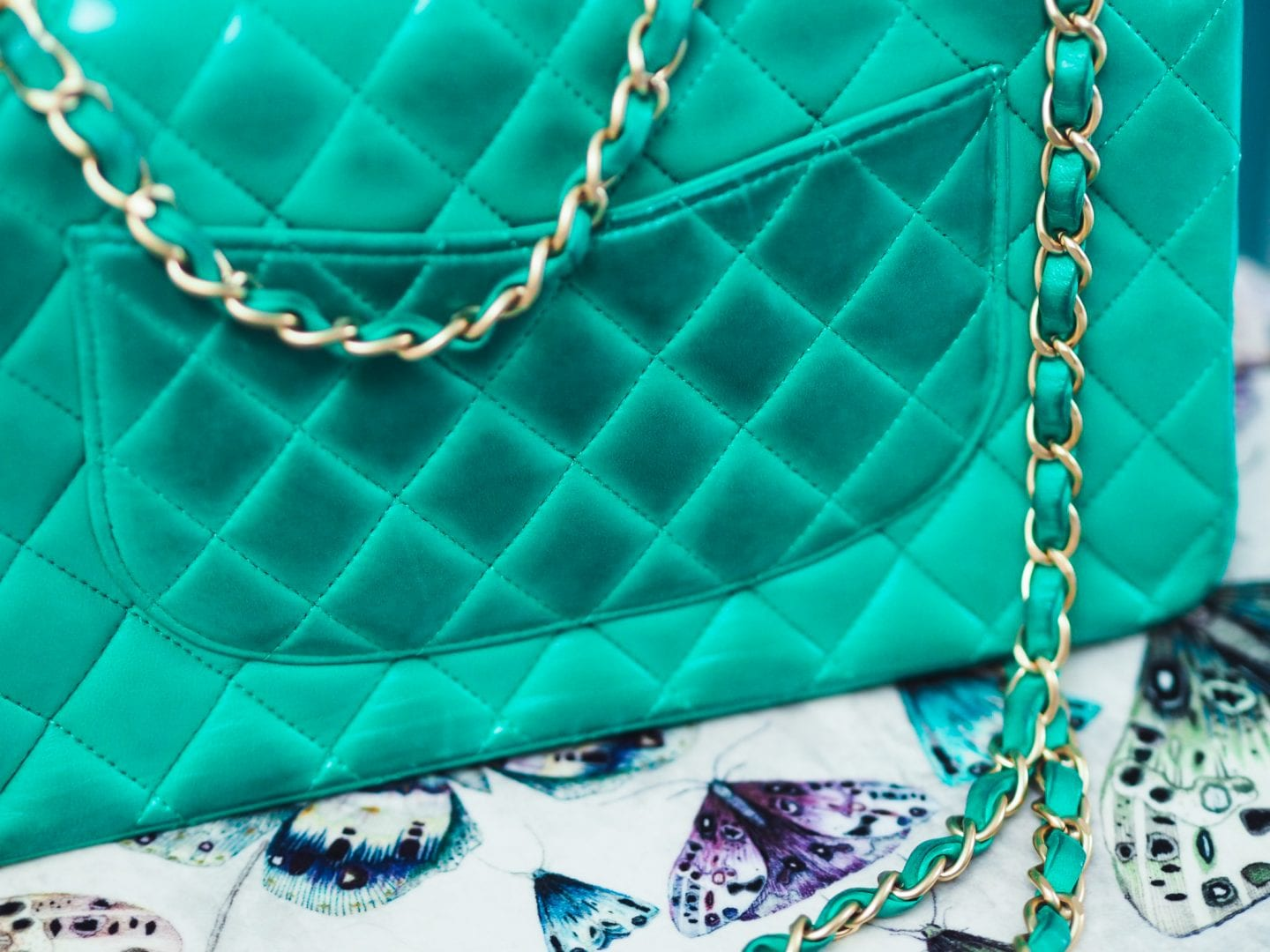 chanel classic flap handbag green colour color transfer results back view