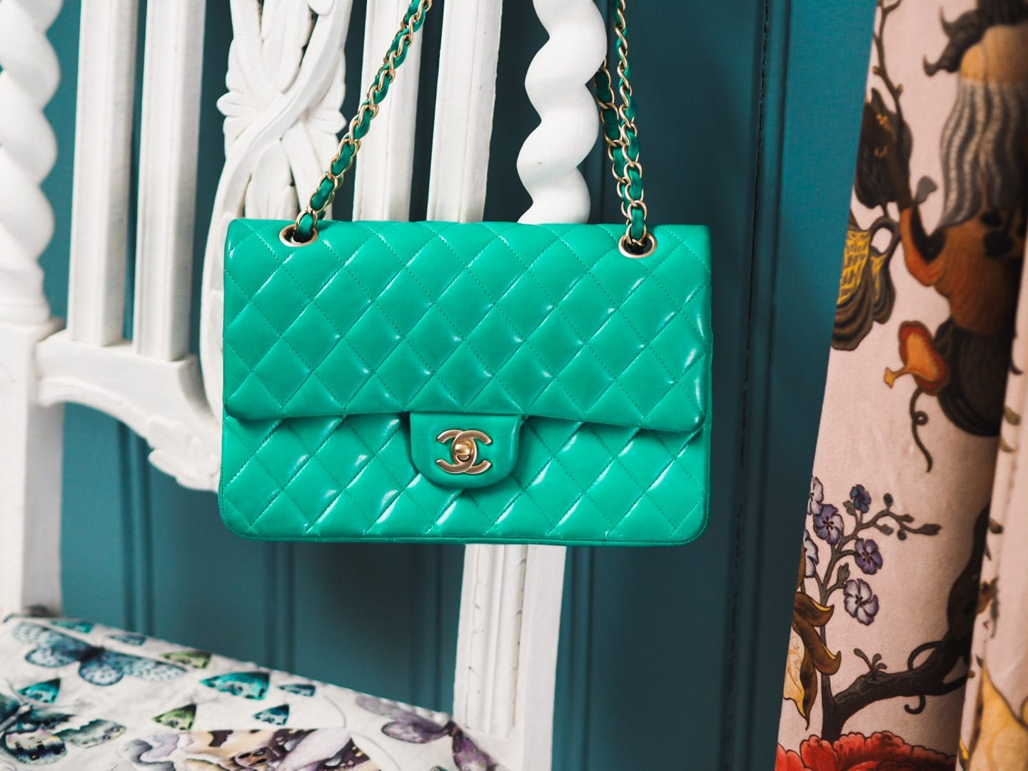 chanel classic flap handbag green colour color transfer results gold hardware