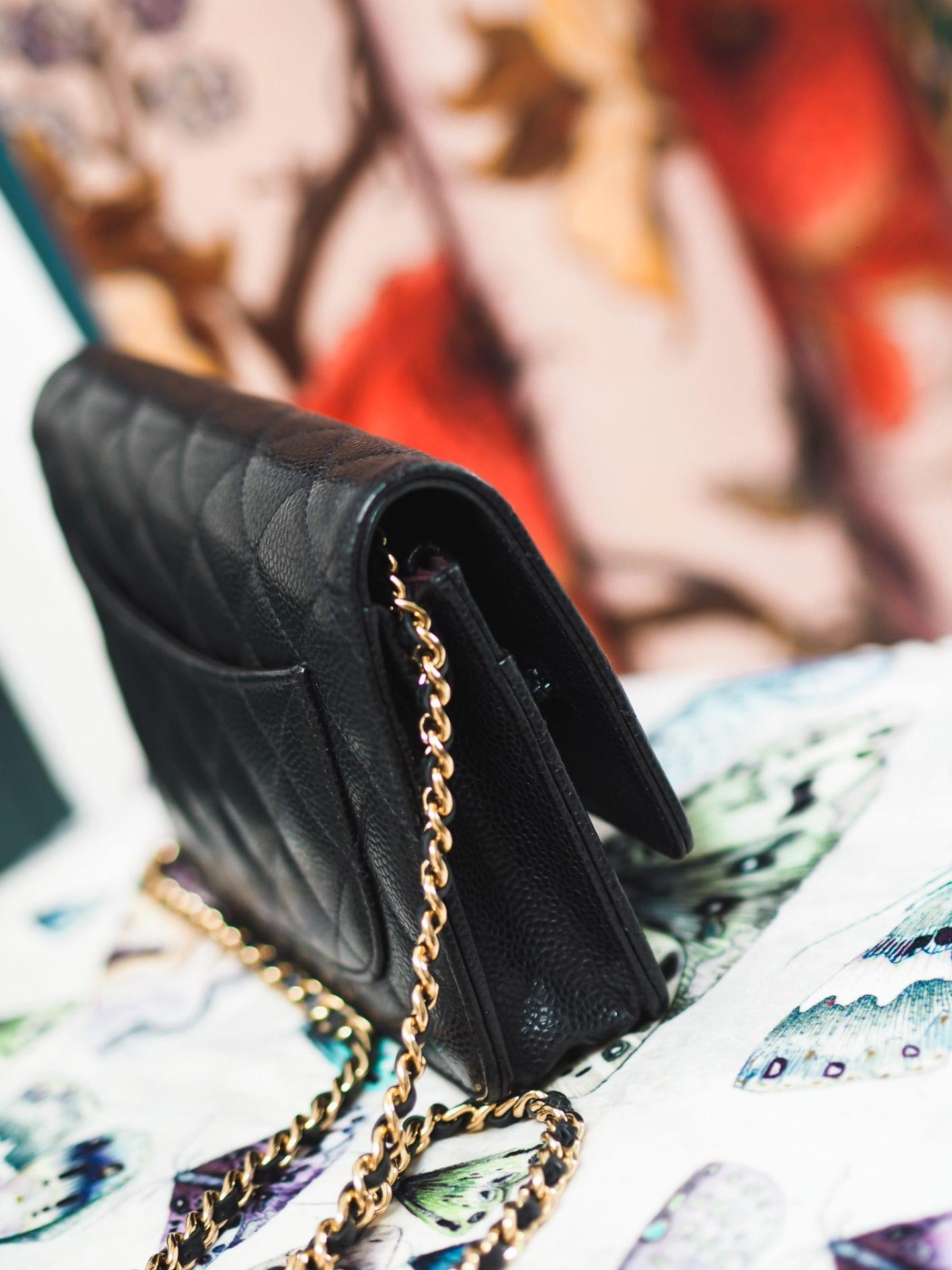 chanel wallet on chanel handbag black caviar leather fashion for lunch blog chanel WOC lambskin