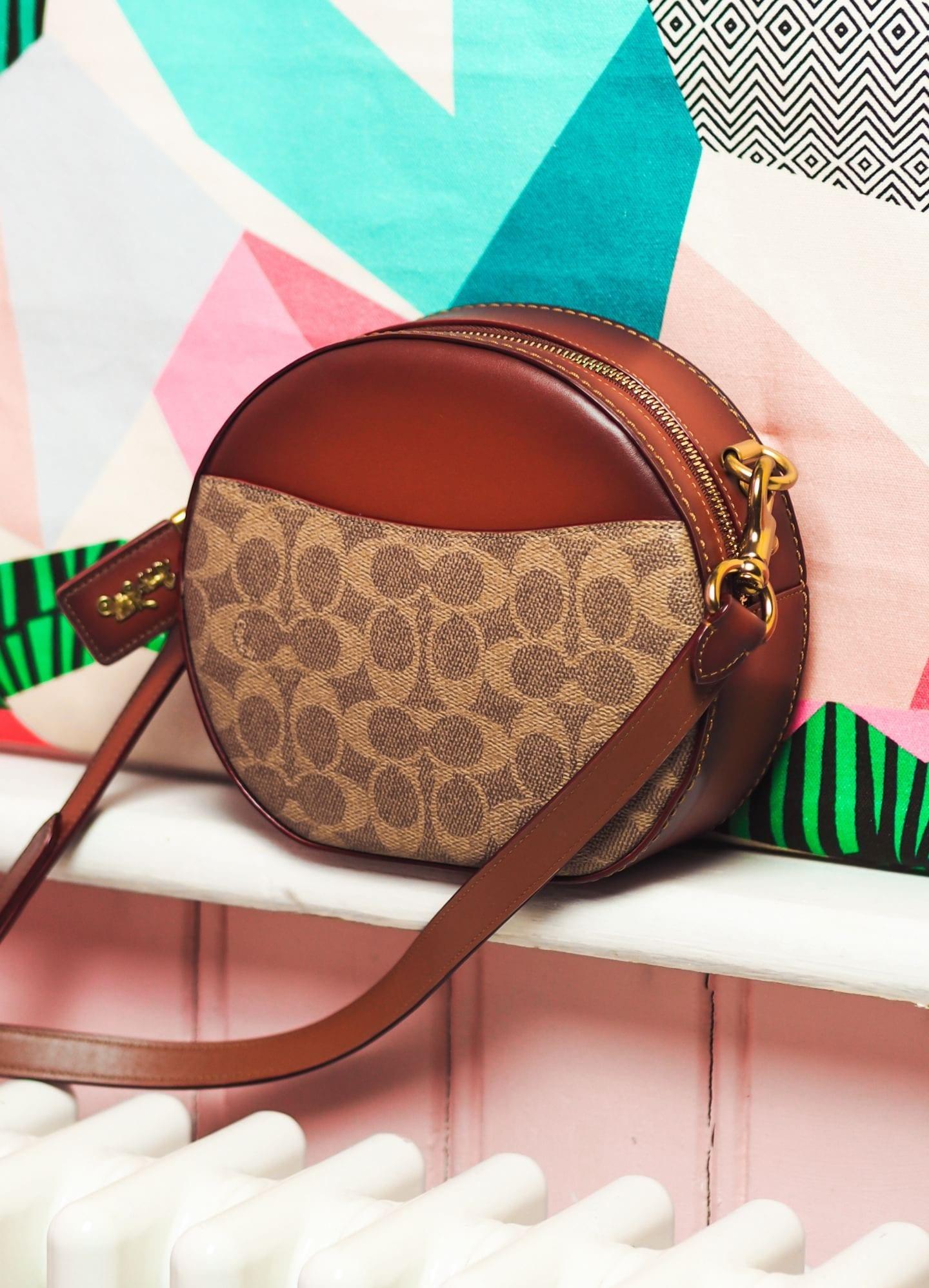 coach canteen crossbody round handbag in signature canvas bag brown leather bag review handbag luxury