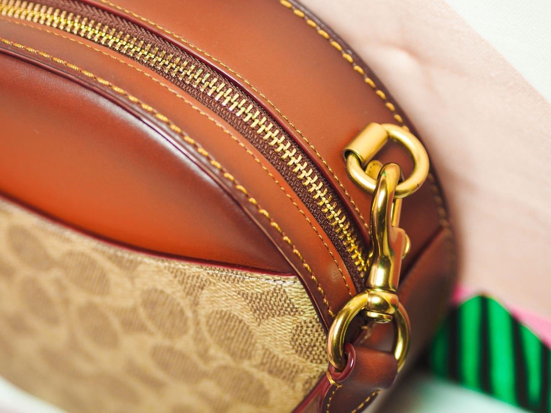 coach canteen crossbody round handbag in signature canvas bag gold har