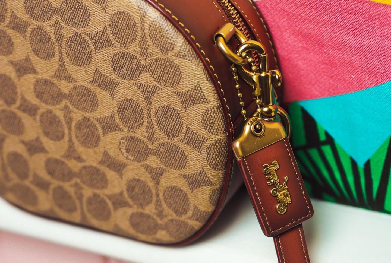 coach canteen crossbody round handbag in signature canvas bag luggage tag handbag review