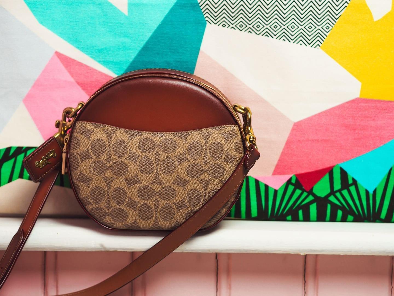 coach canteen crossbody round handbag in signature canvas bag luxury handbag review