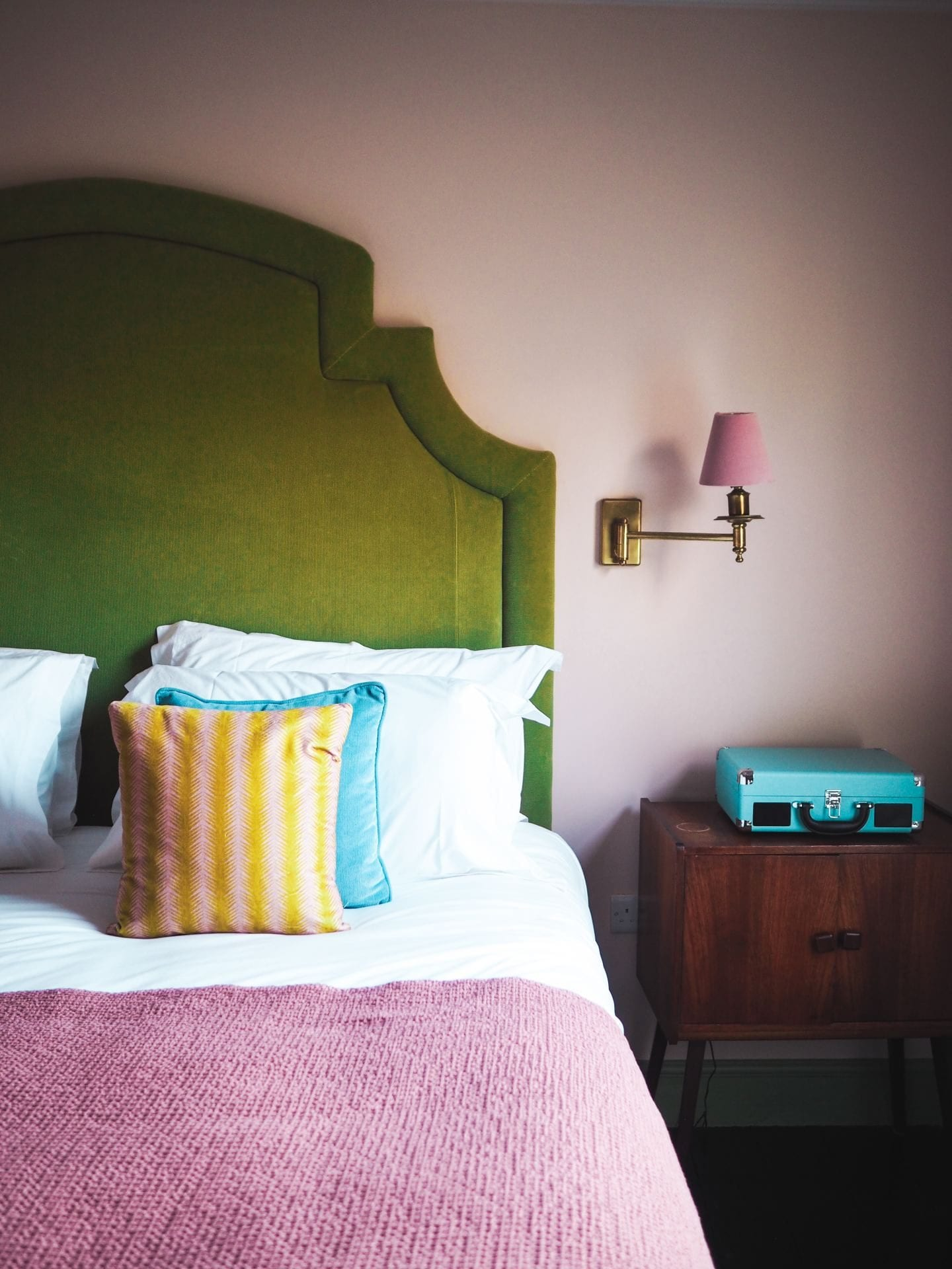 green and pink headboard bed the rose deal kent decor interior design