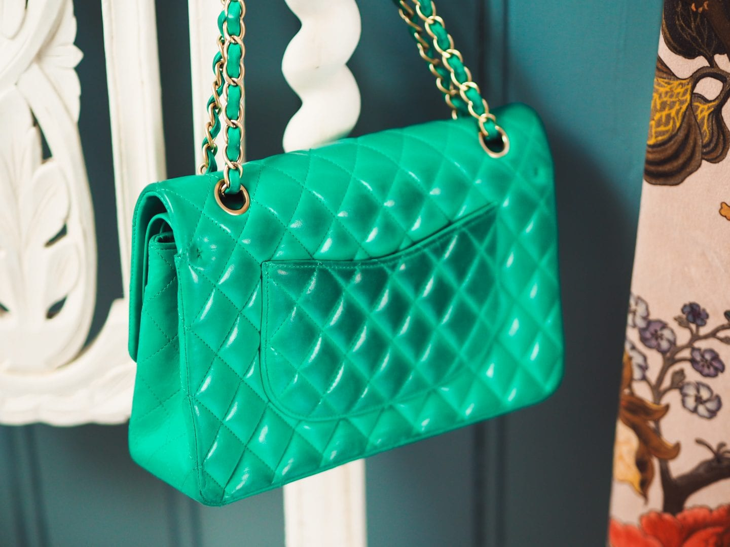 chanel classic flap handbag green colour color transfer results back view bad quality