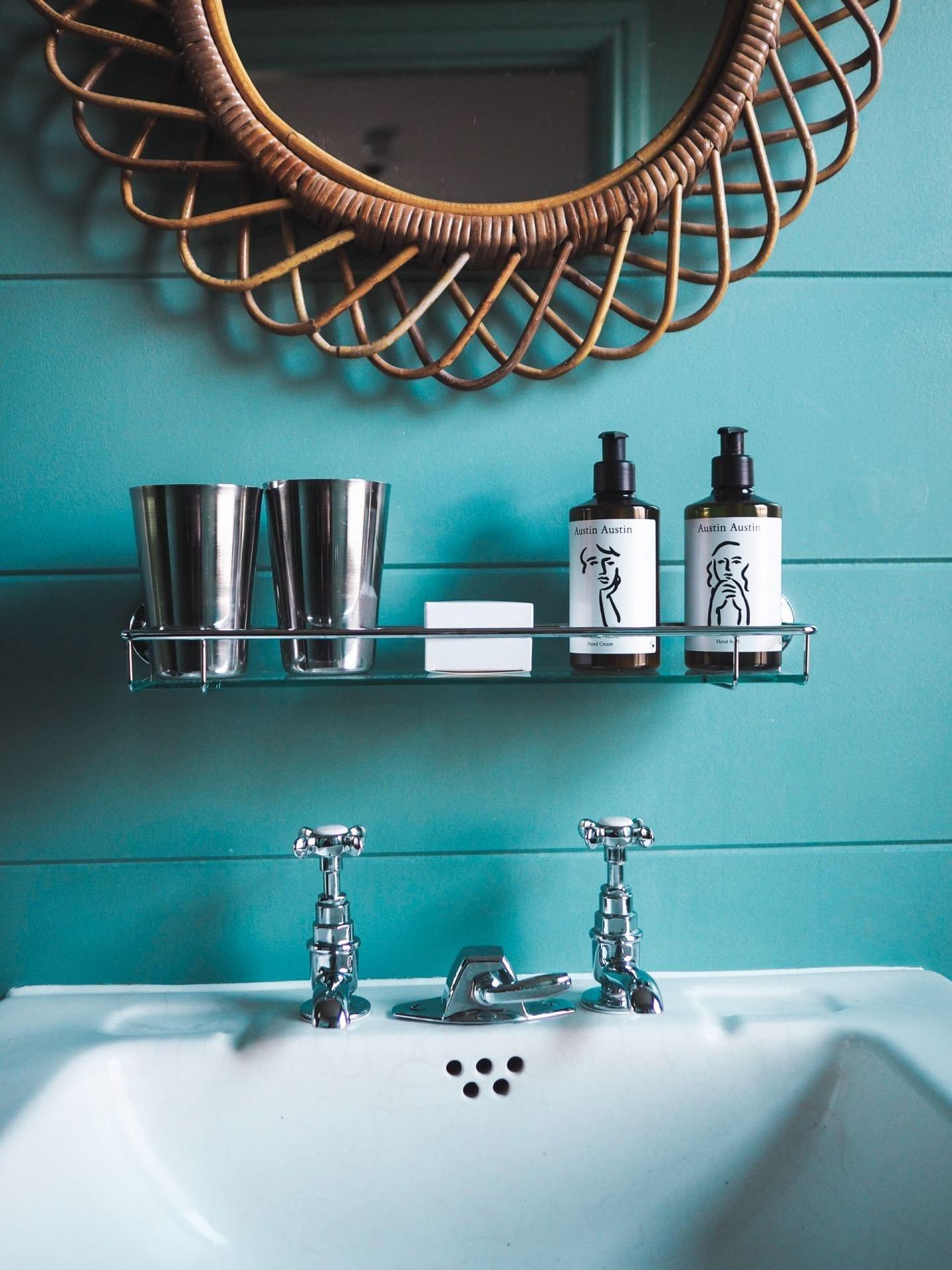 the rose deal kent decor interior design green bathroom bamboo mirror vintage style