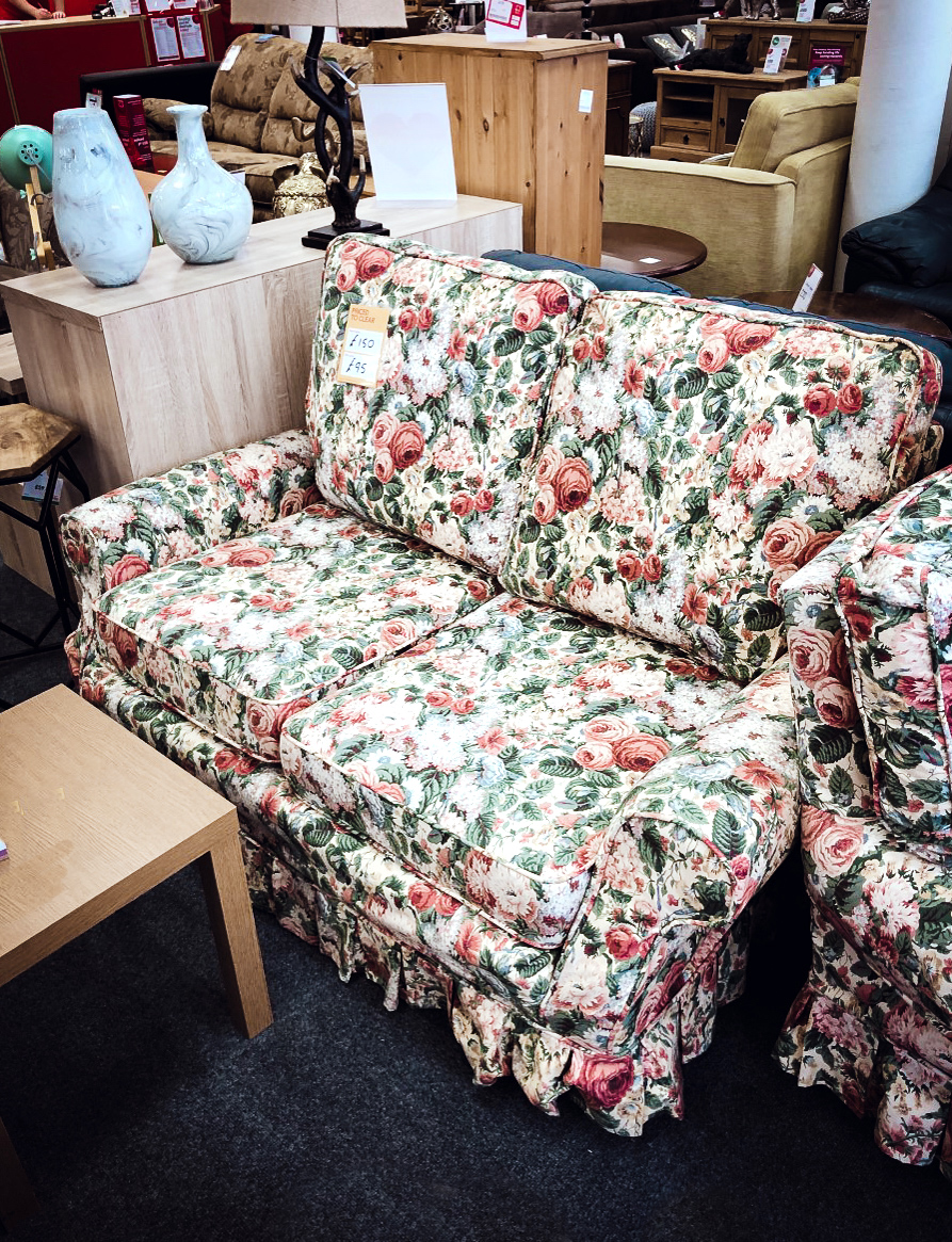 amazing charity shop floral sofa