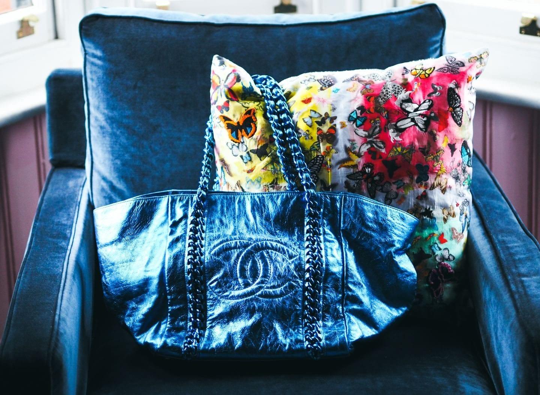 The Chanel Chain Tote Handbag At Auction blue metallic blue chain tote bag