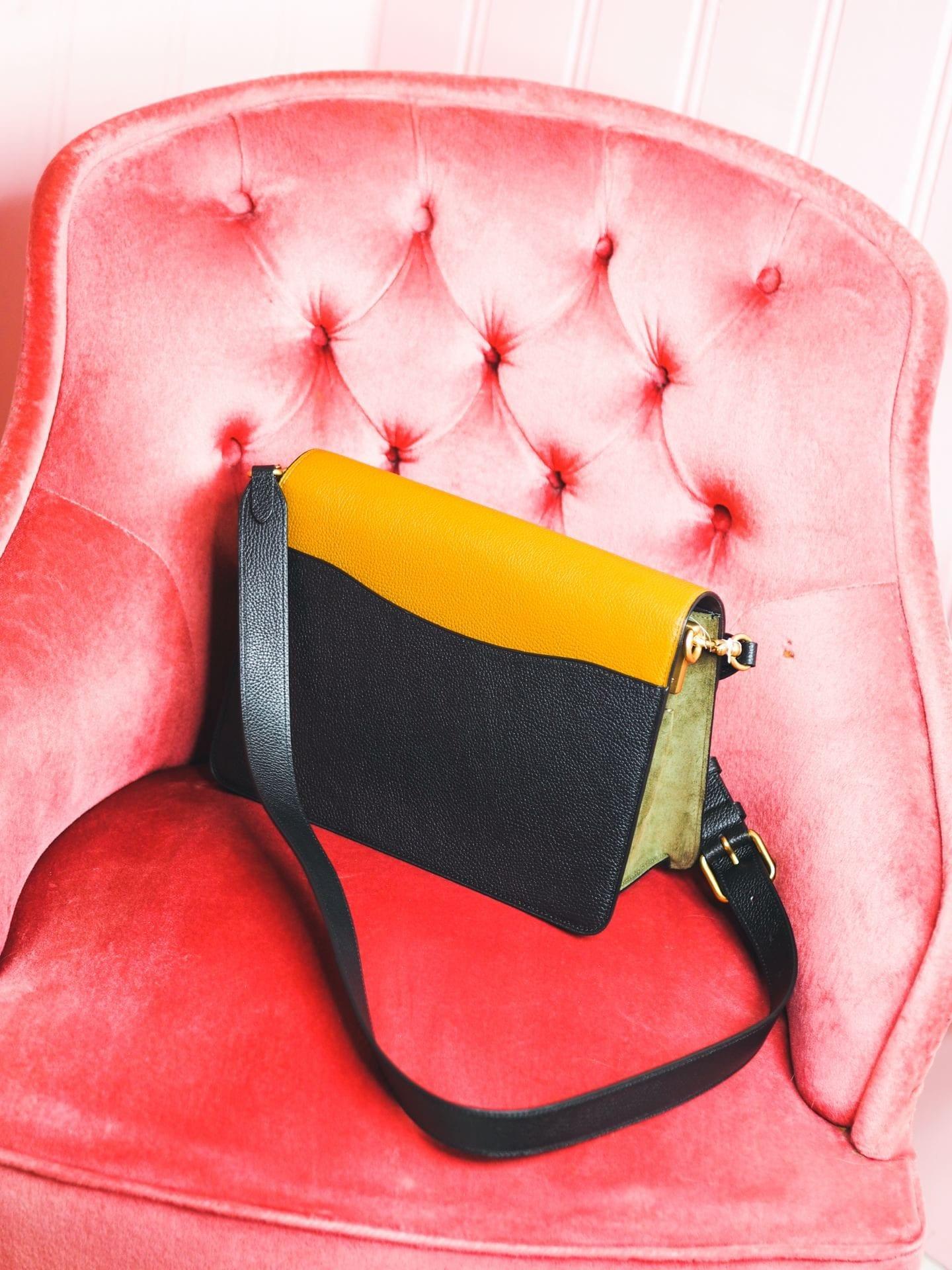 coach tabby bag handbag strap tricolor patchwork back pocket