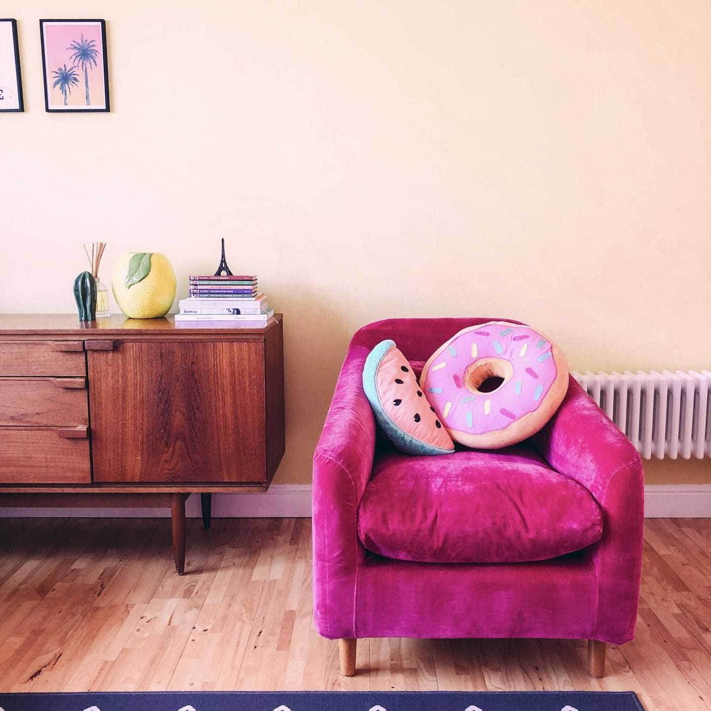 pink chair from british heart foundation retro style home