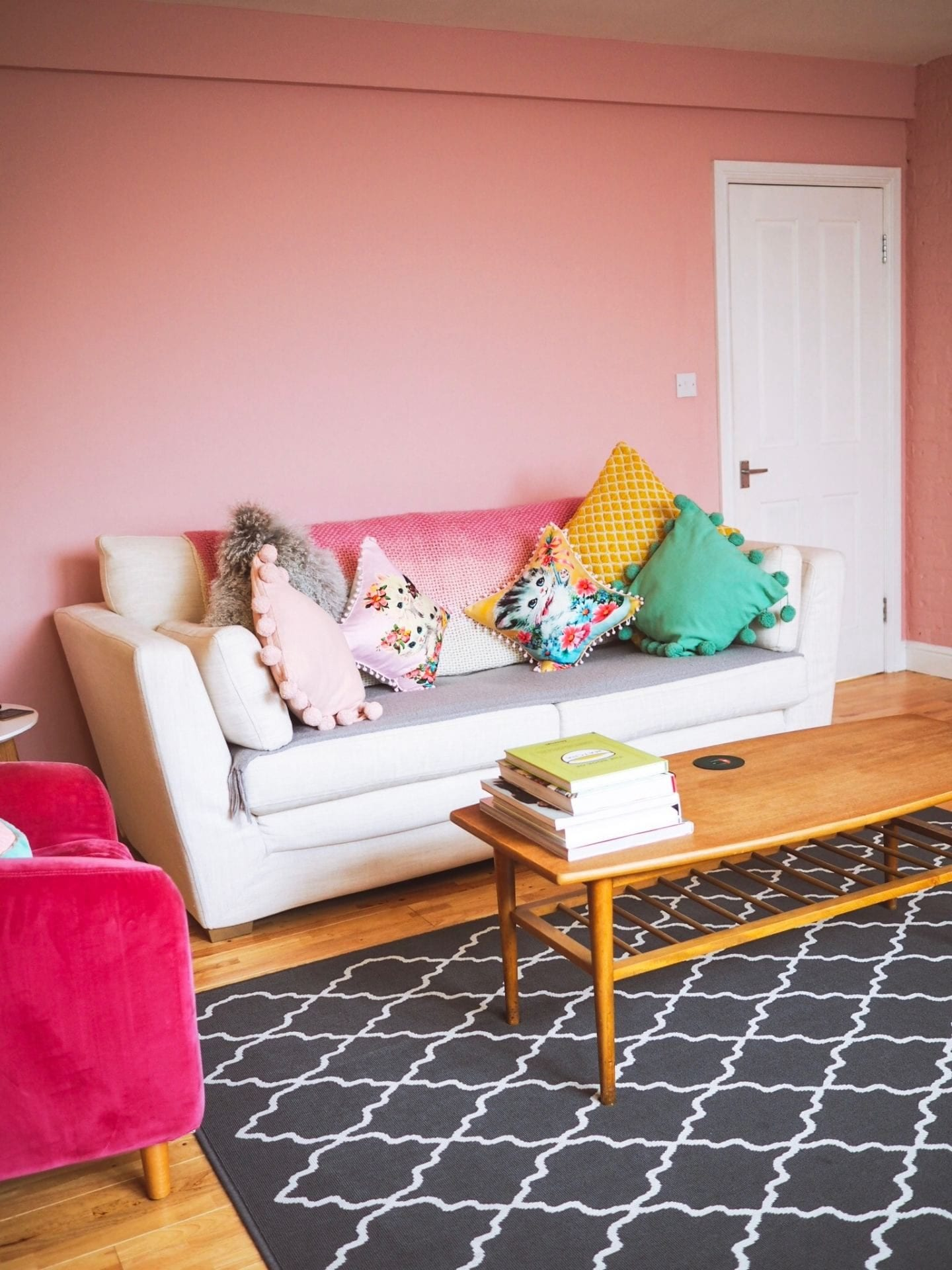 How To Make Your Living Room More Colourful :: Interior Door Paint Ideas before white door pink door