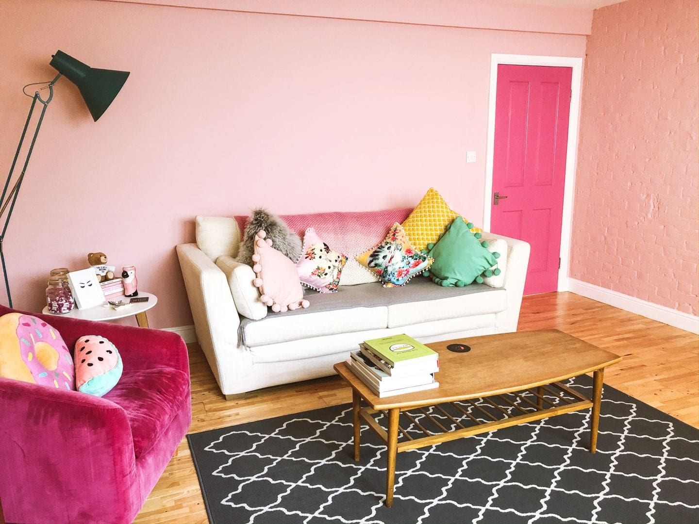 How To Make Your Living Room More Colourful :: Interior Door Paint Ideas pink living room