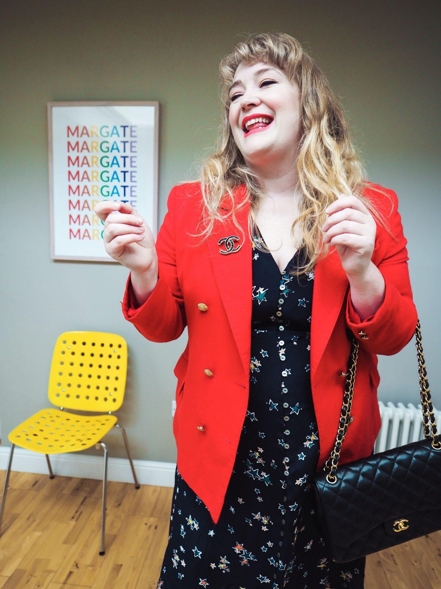 vintage jacket red wool curve blogger style post vintage shopper