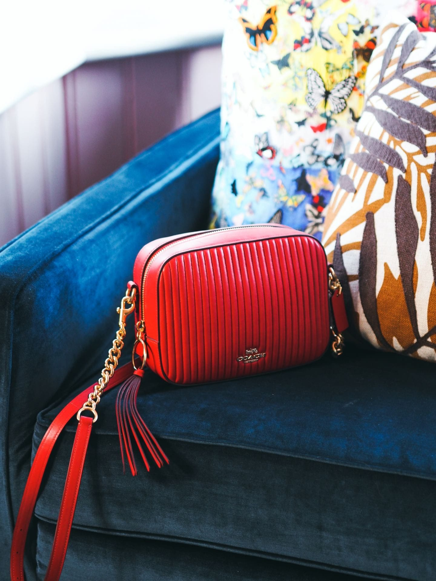 Coach Camera Bag handbag red leather quilted review fashion for lunch