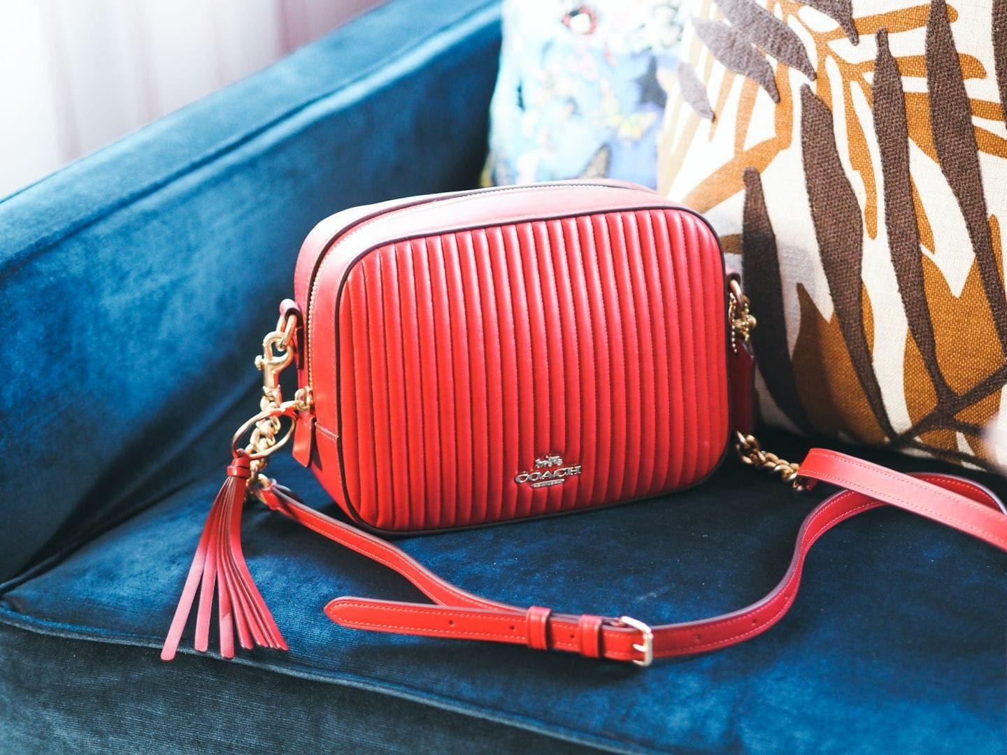 Coach Camera Bag handbag red leather quilted review leather strap