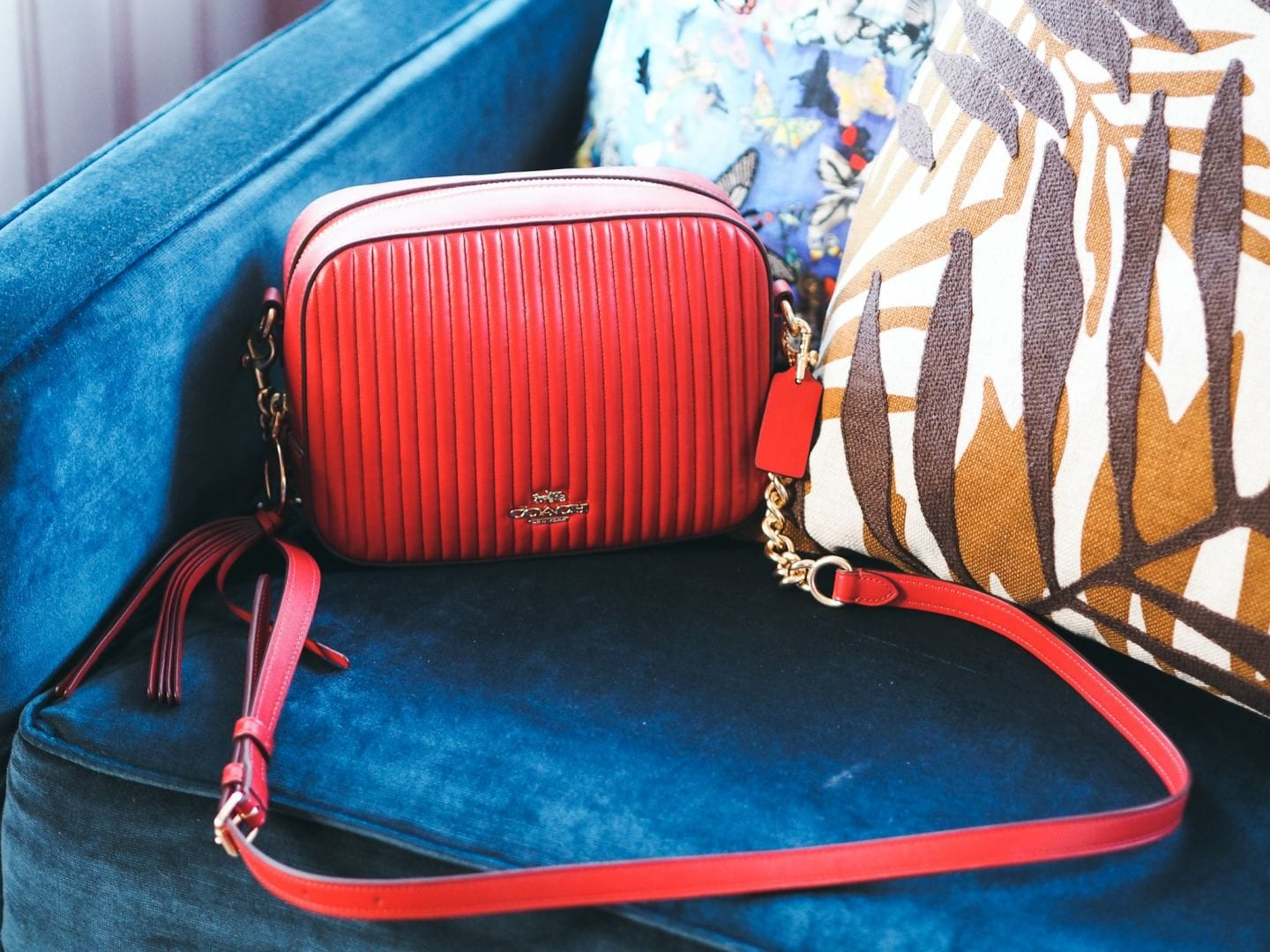 Coach Camera Bag handbag red leather quilted review strap hardwear price