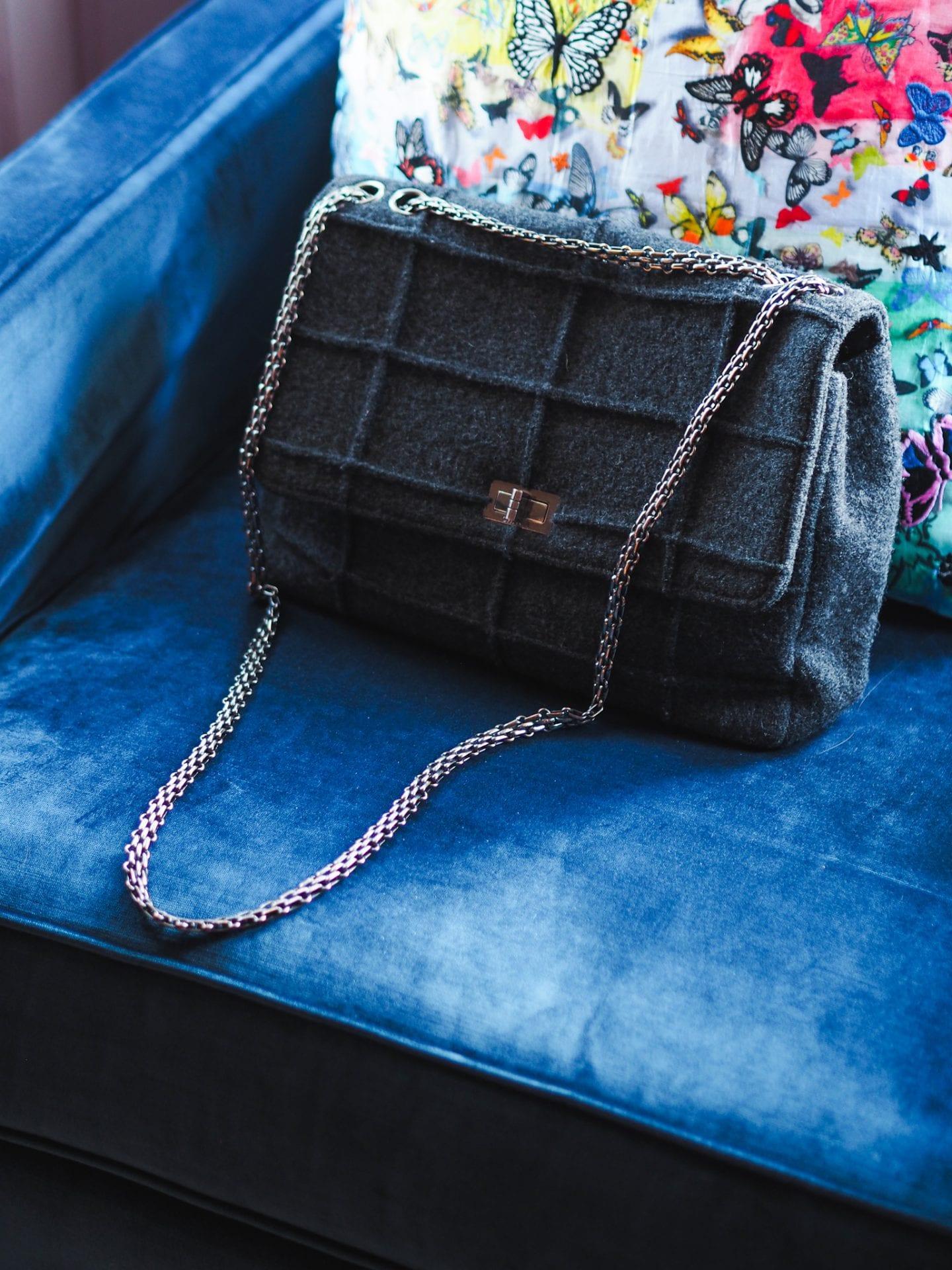 chanel reissue handbag 1999 vintage grey millenium handbag bag silver hardware